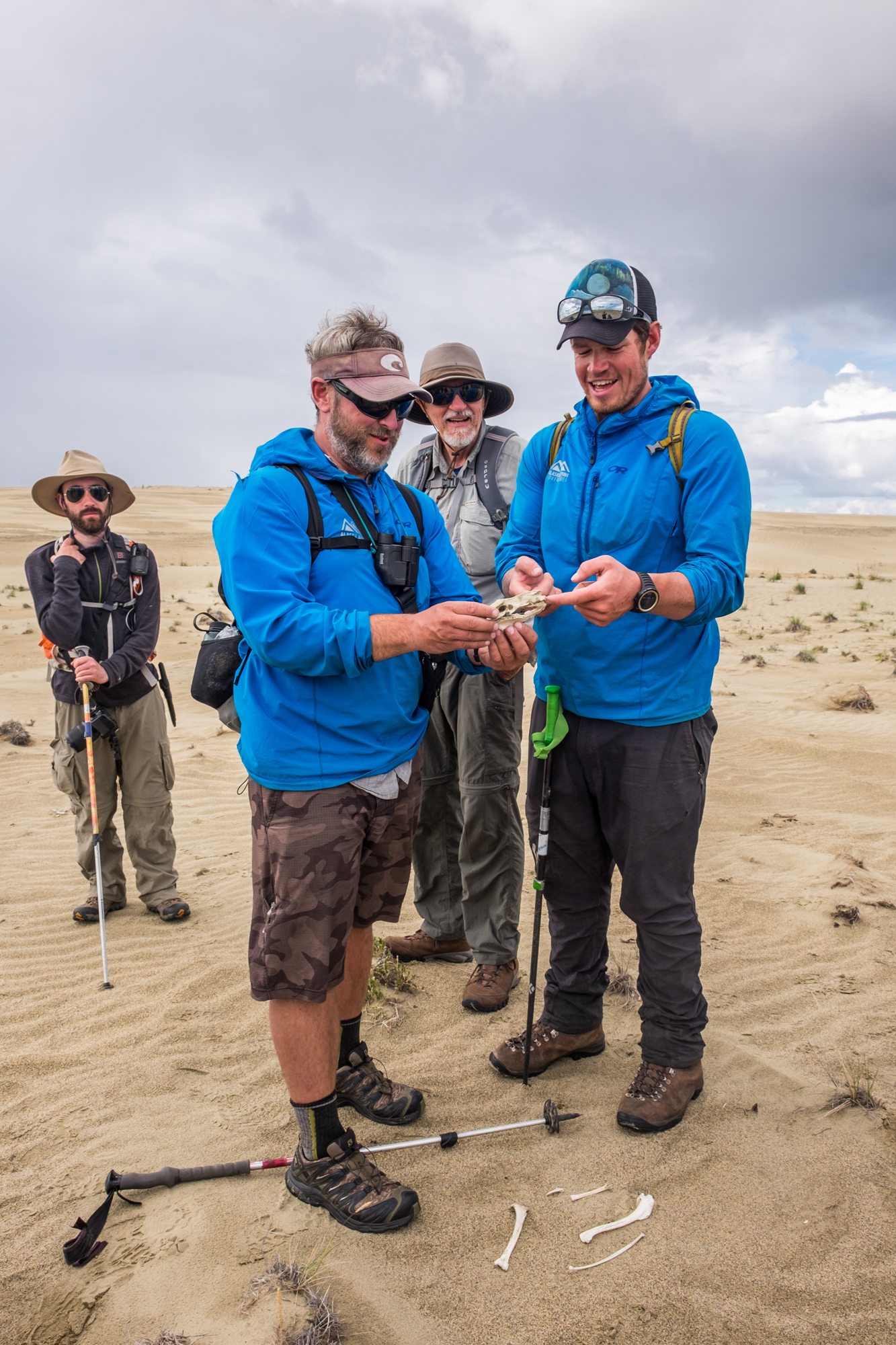 Our guides Nick and Sean, teaching us about the Alaska wilderness.We had an amazing group and had so much fun -- it was like we never stopped laughing from the moment we touched down on the dunes.