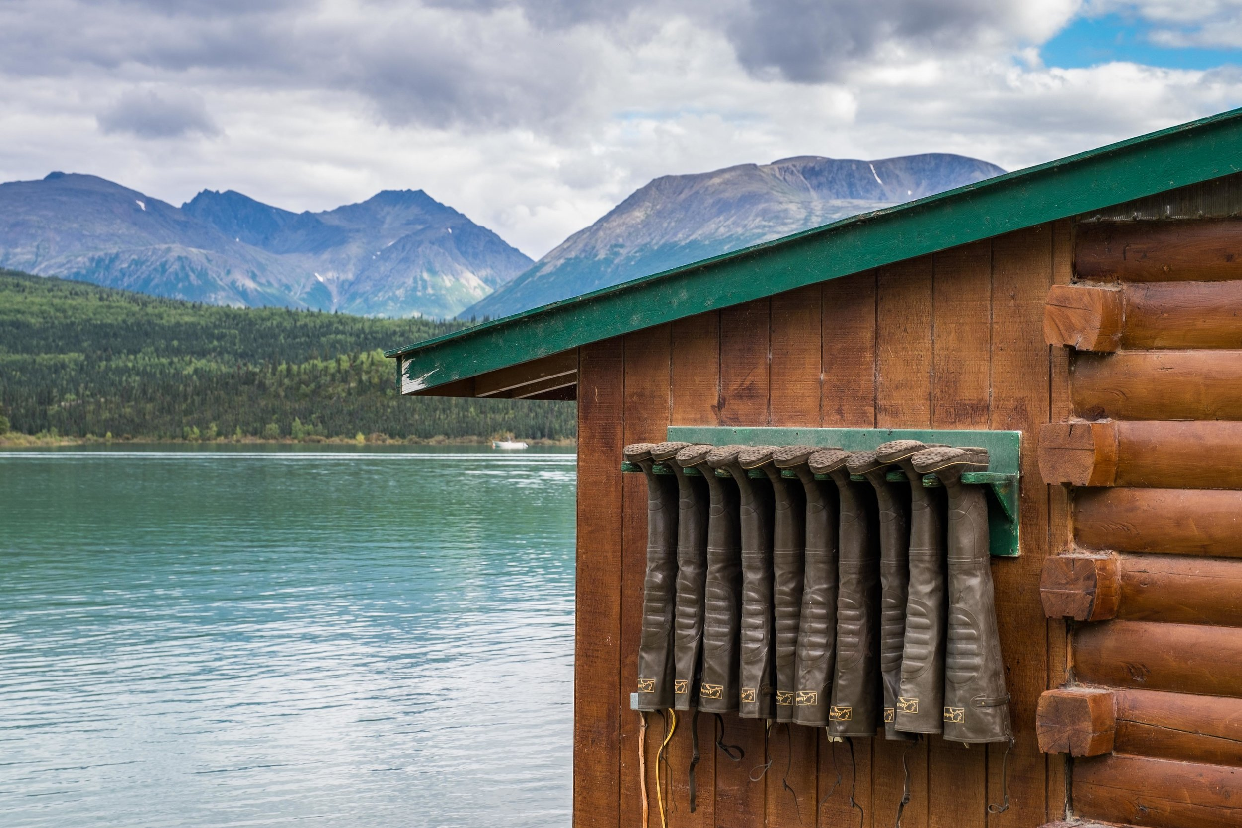 Muck boots hung up to dry after a day of exploring.