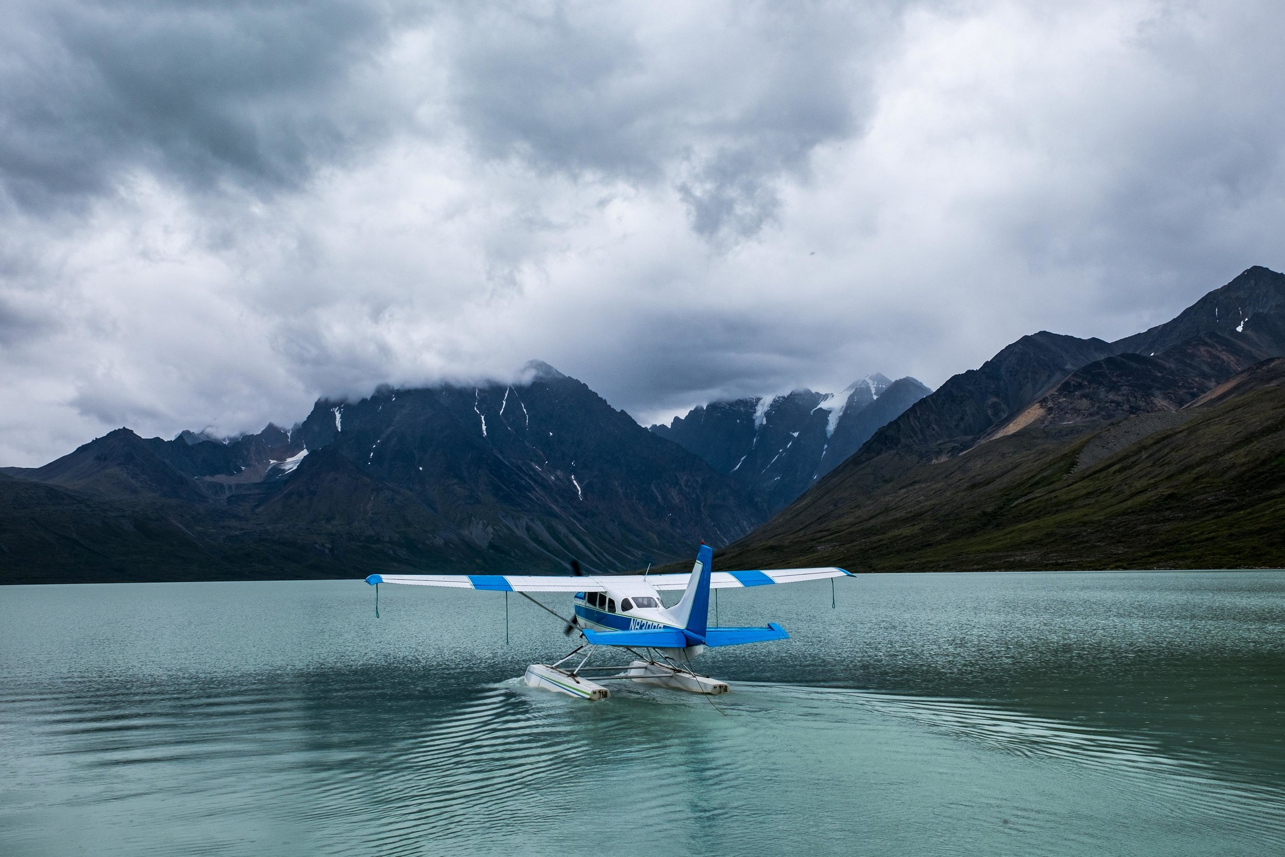 Our float plane takes off leaving us alone in the wilderness at Turquoise Lake. Awesome!