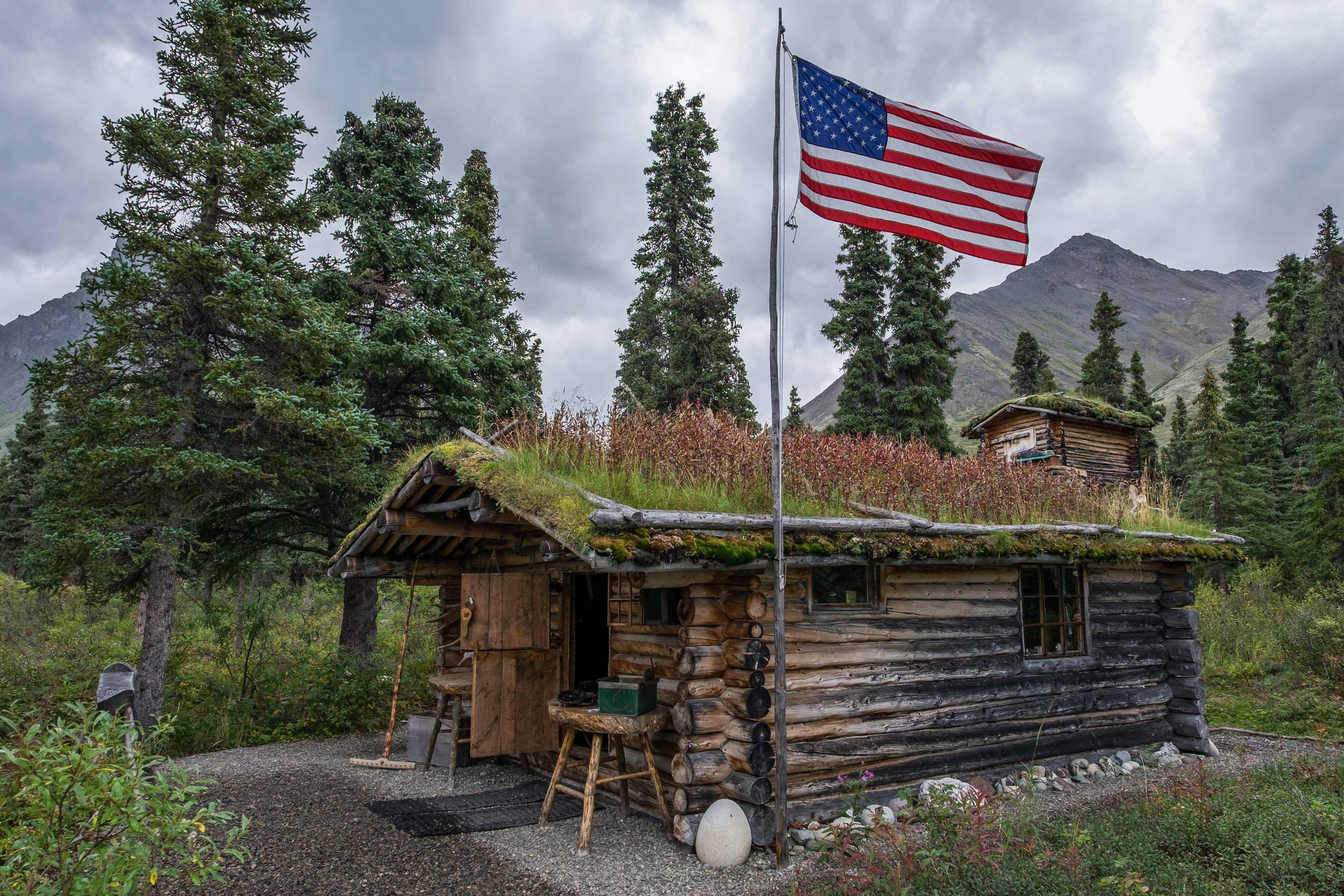Richard Proenneke's cabin at Upper Twin Lakes in Lake Clark. Proenneke was a famous outdoorsman who made his life at this beautiful lake. His cabin is a great example of his excellent craftmanship.