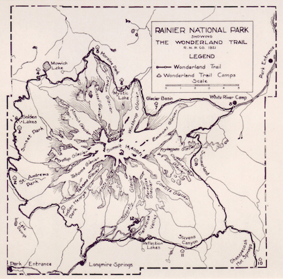 A map of the Wonderland Trail, from a 1921 Rainier National Park Company publicity brochure. The map shows the location of campsites for the company's saddle and pack horse outings around the mountain. Note that the indicated route crosses directly over the Winthrop Glacier.   NPS Archives
