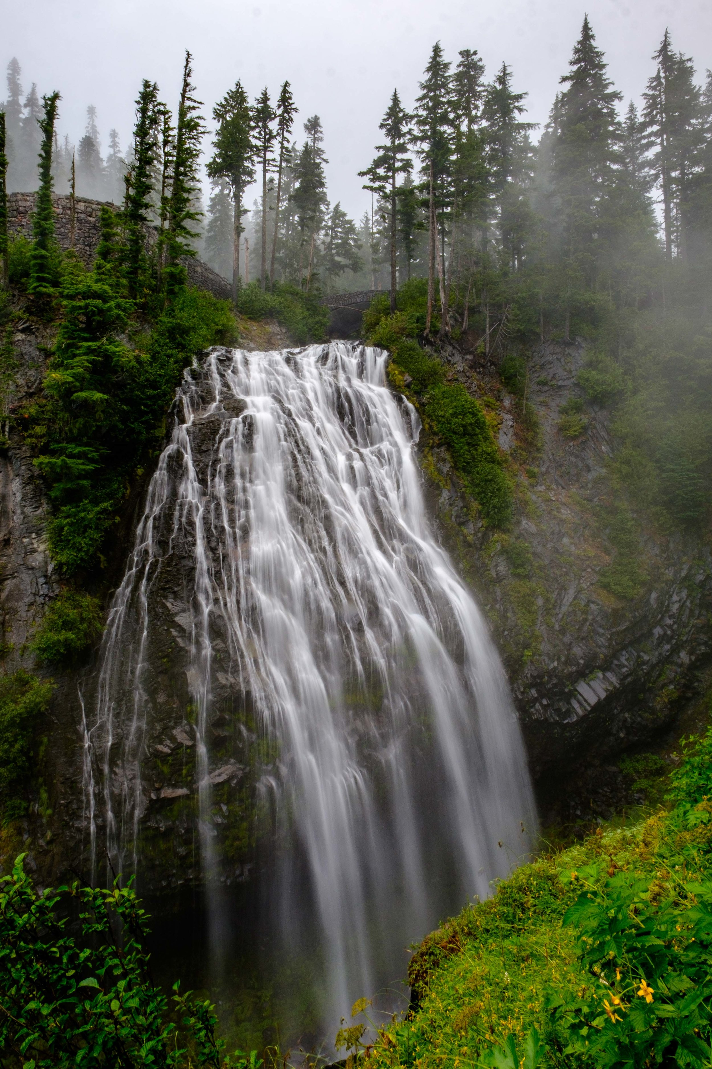 Two-tiered Narada Falls in Mount Rainier National Park as seen from the overlook.