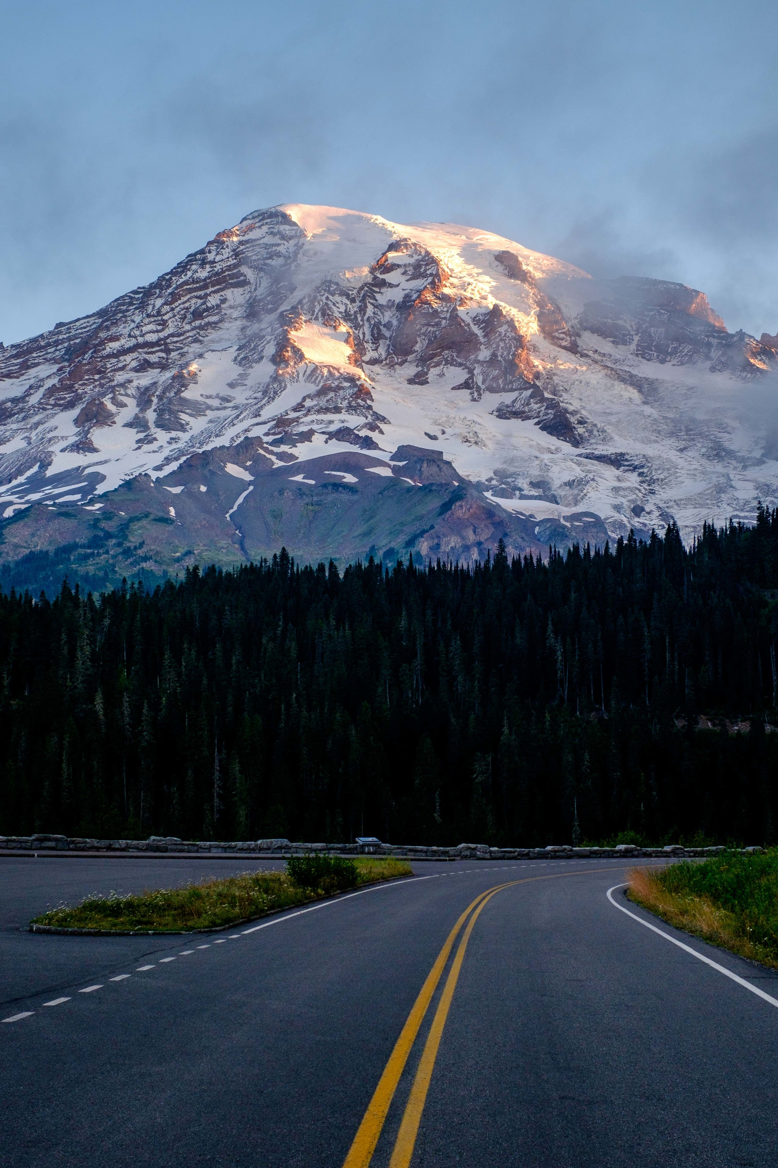On the road in Mount Rainier National Park.
