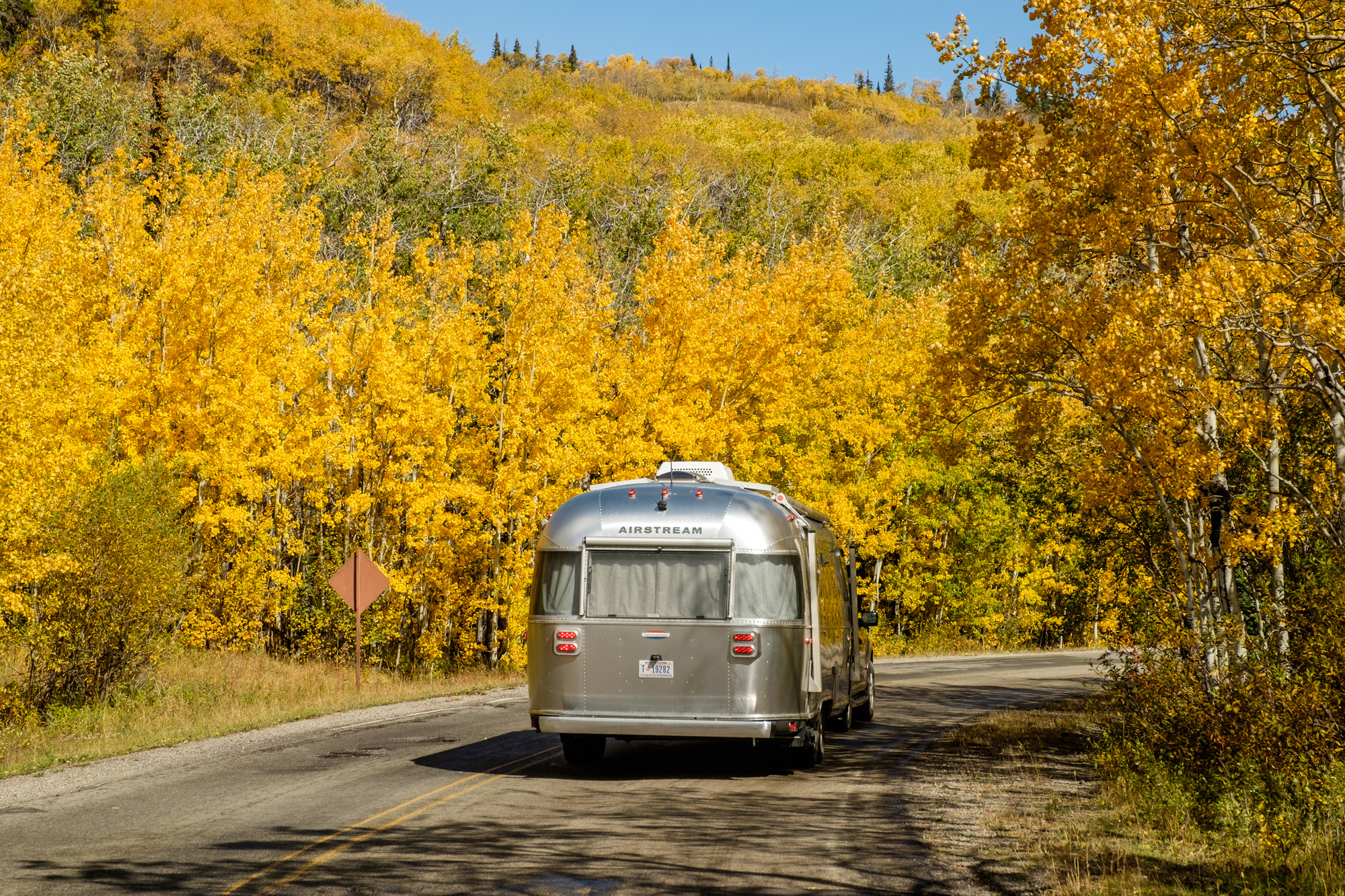 Wally the Airstream looks sharp during fall foliage in Glacier National Park in Montana!