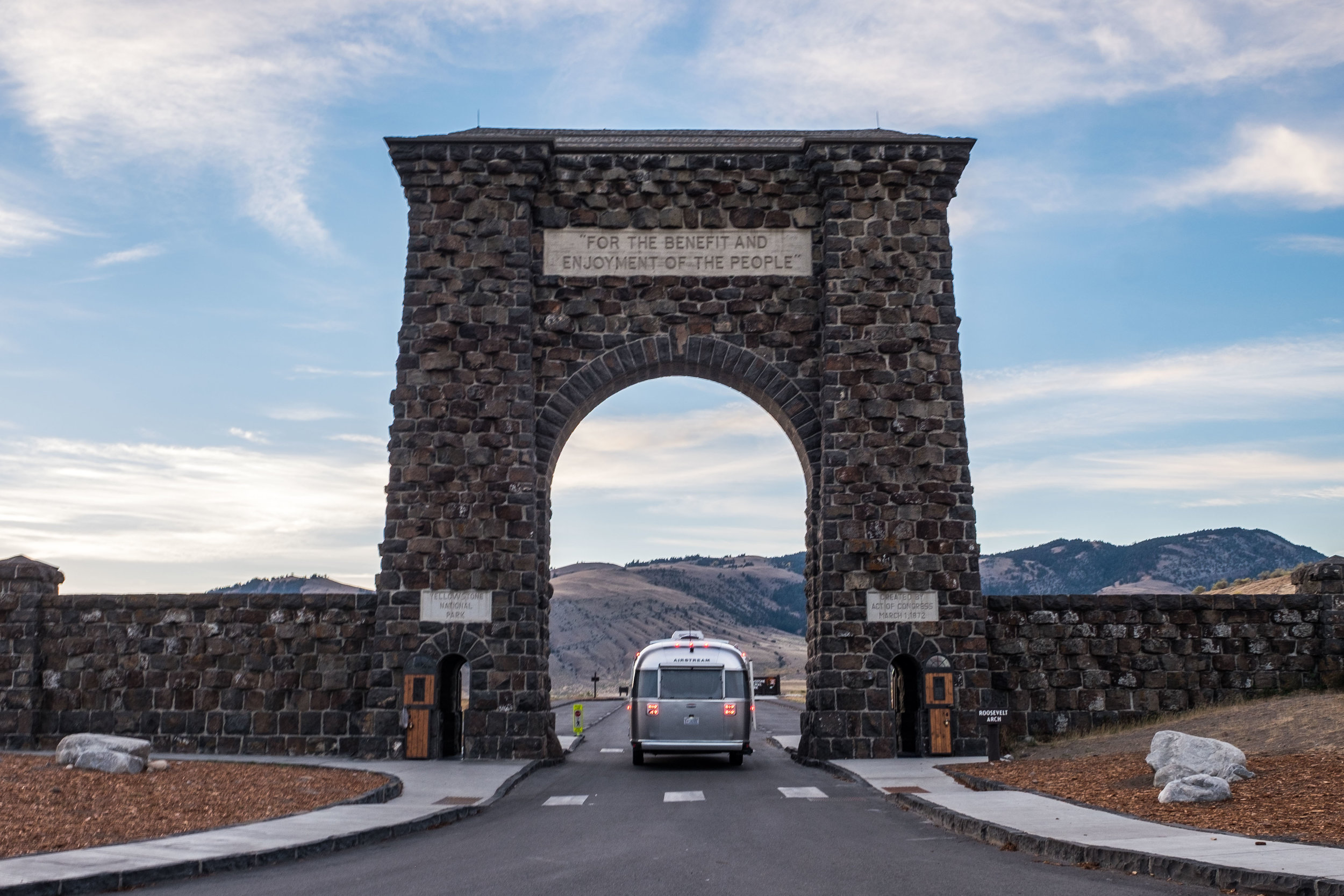 The infamous Gardiner Gateway into Yellowstone. This is a sacred entrance, and Wally was especially humbled to be passing through these hallowed gates.