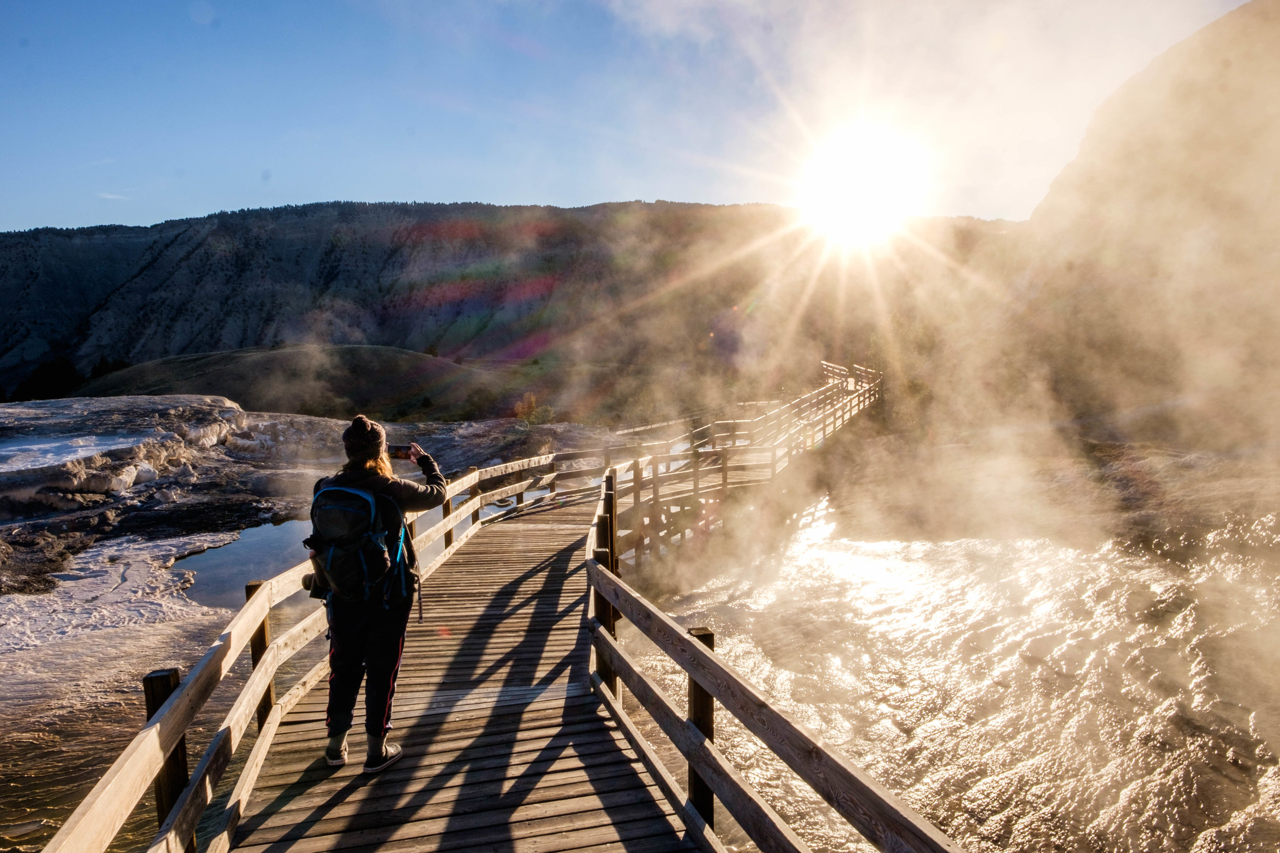 Our first stop: sunrise at Mammoth Hot Springs.
