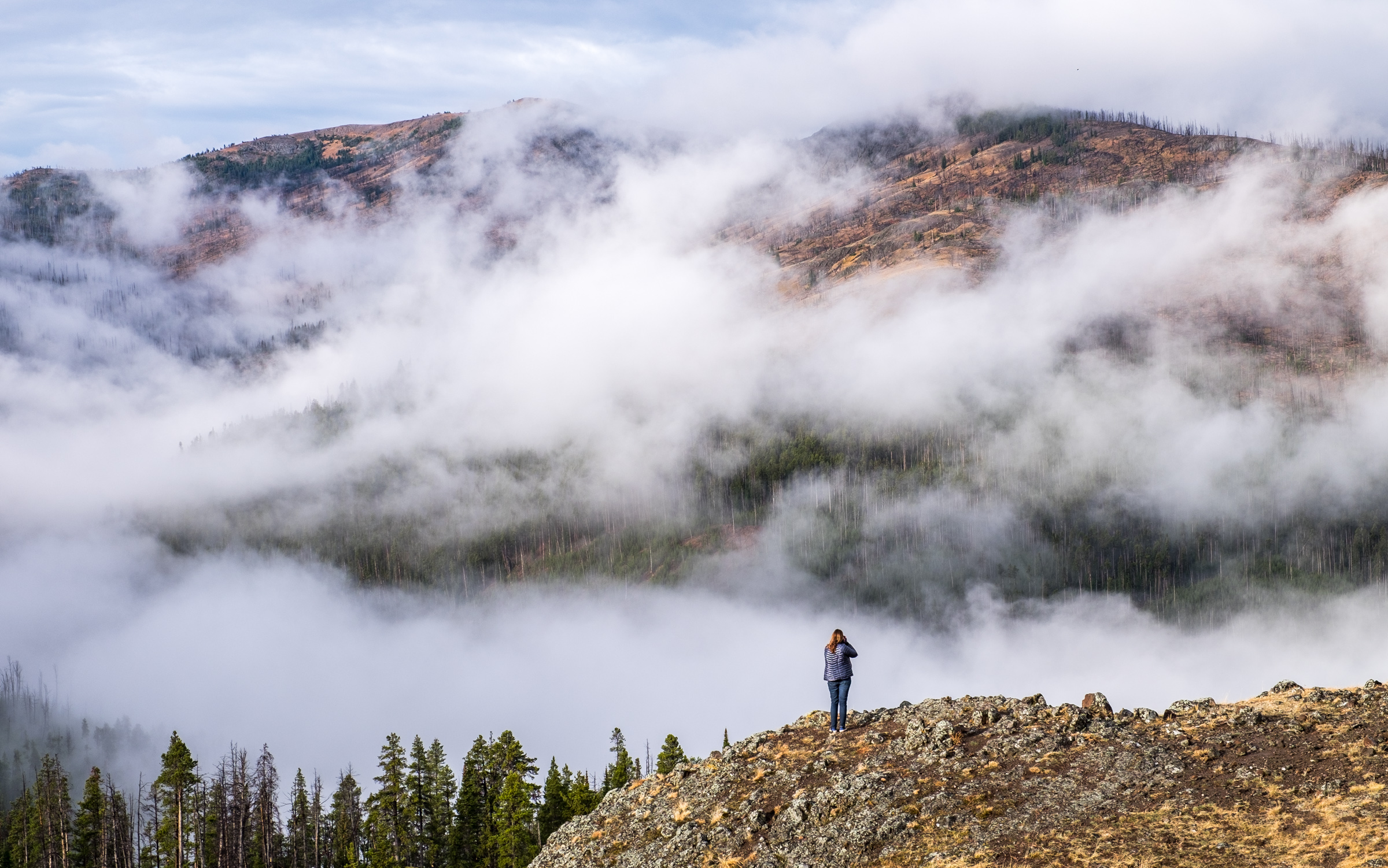 In the clouds in backcountry near Dunraven Pass.