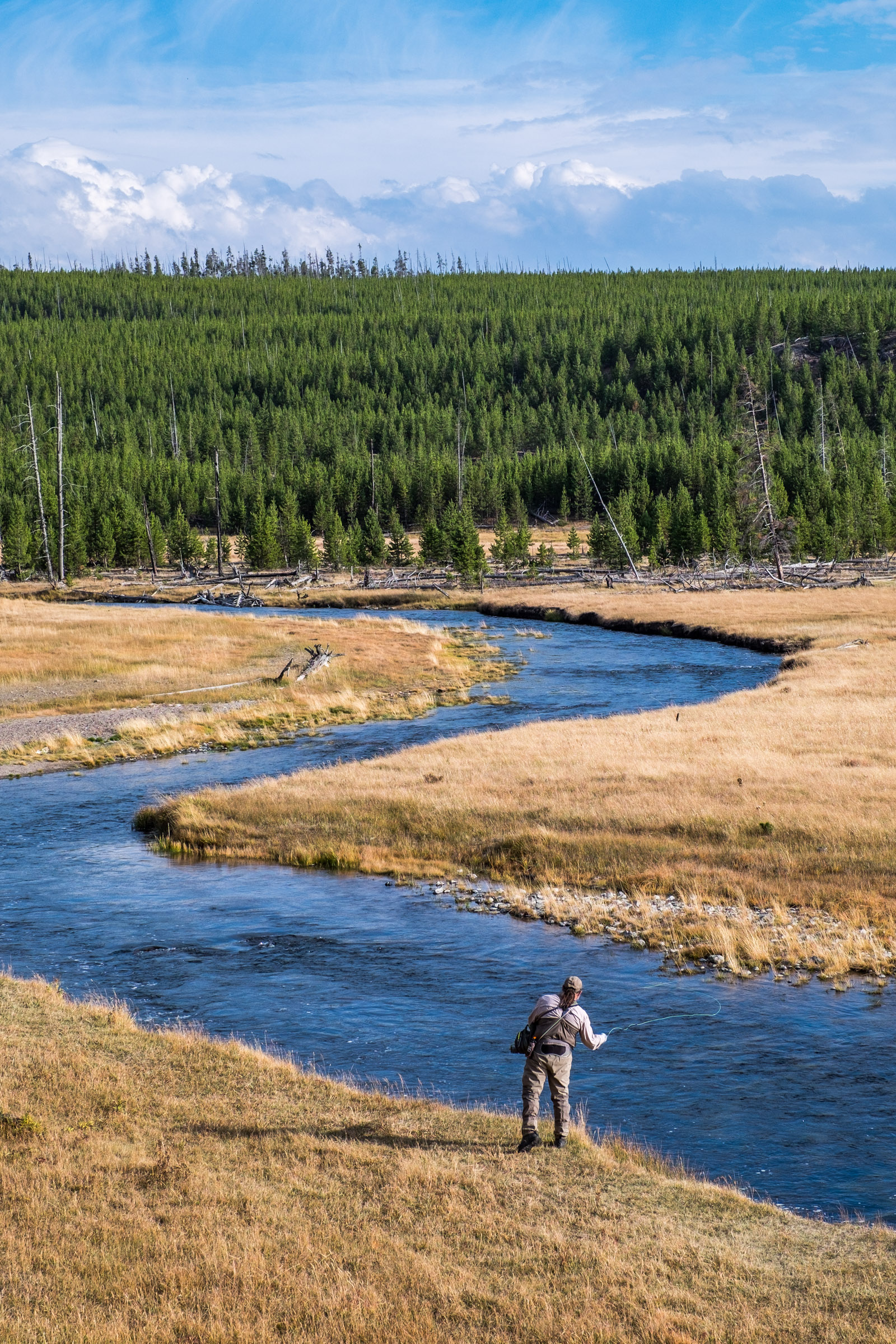 Anglers come from all over the world to fly fish in the Yellowstone River.