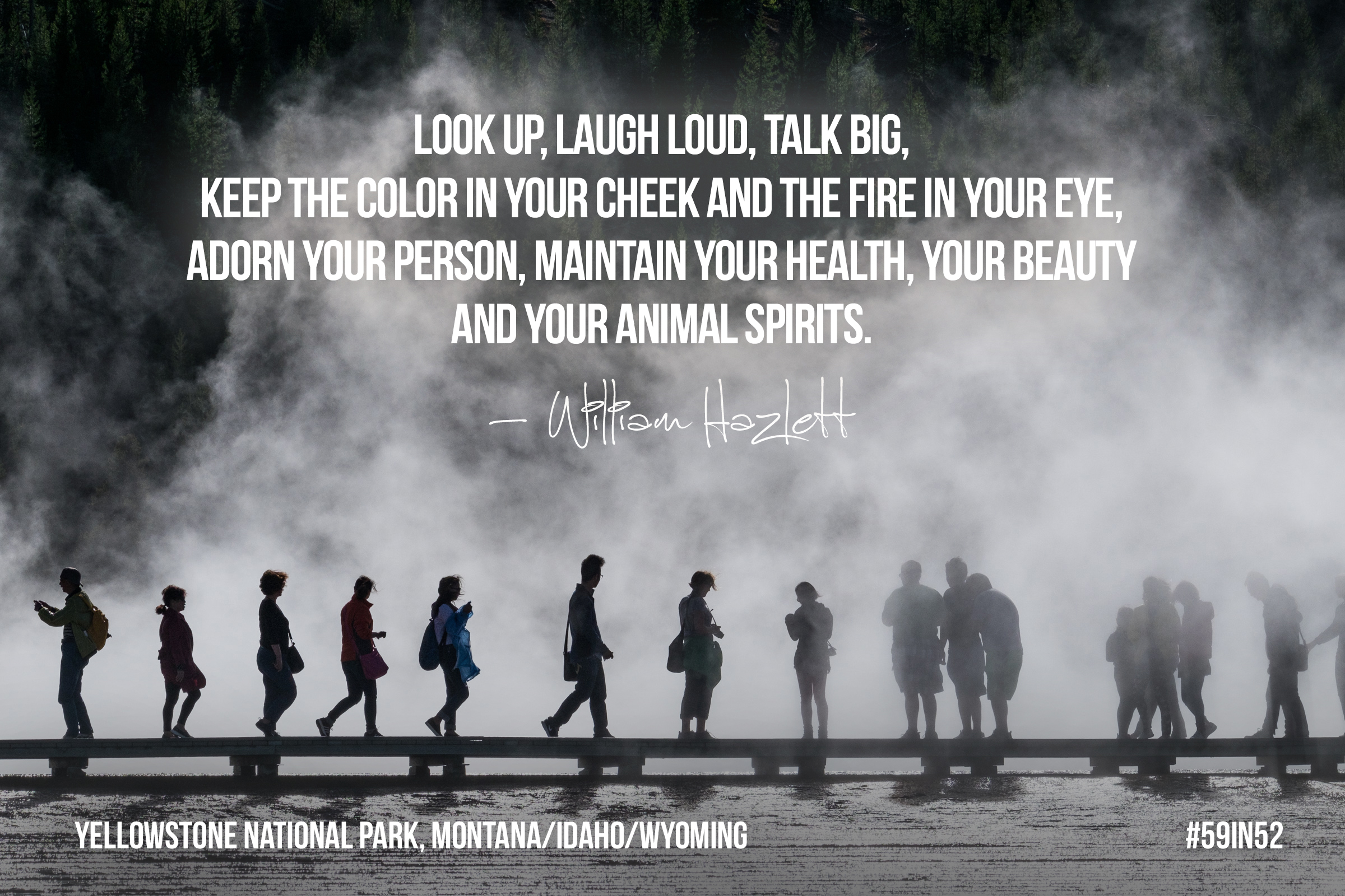 """Look up, laugh loud, talk big, keep the color in your cheek and the fire in your eye, adorn your person, maintain your health, your beauty and your animal spirits.""     -William Hazlitt"