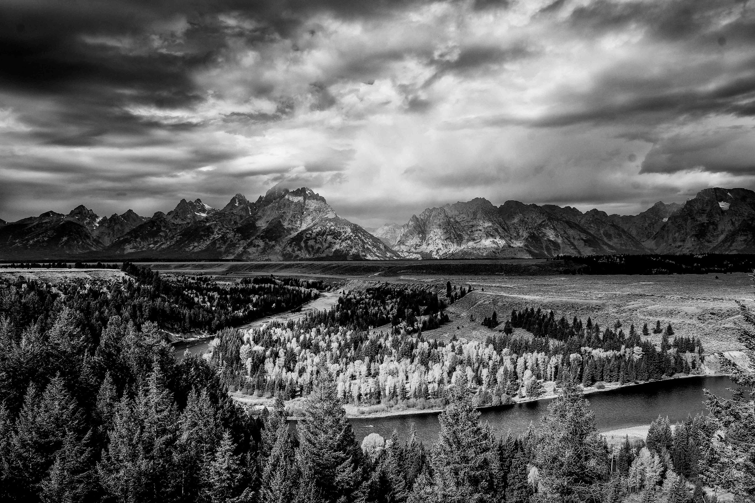 The Snake River Overlook in black and white.