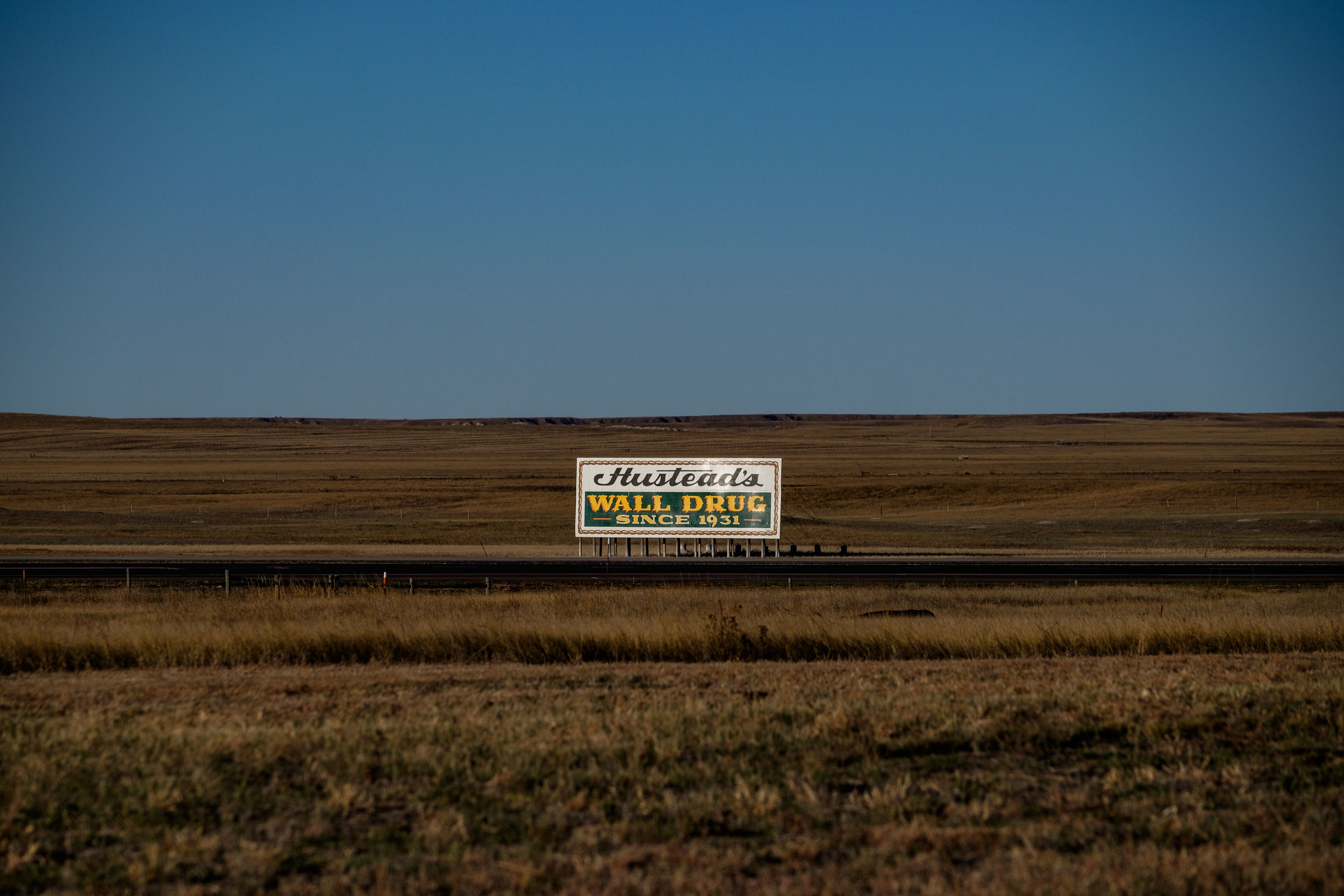 Wall Drug signs in South Dakota.
