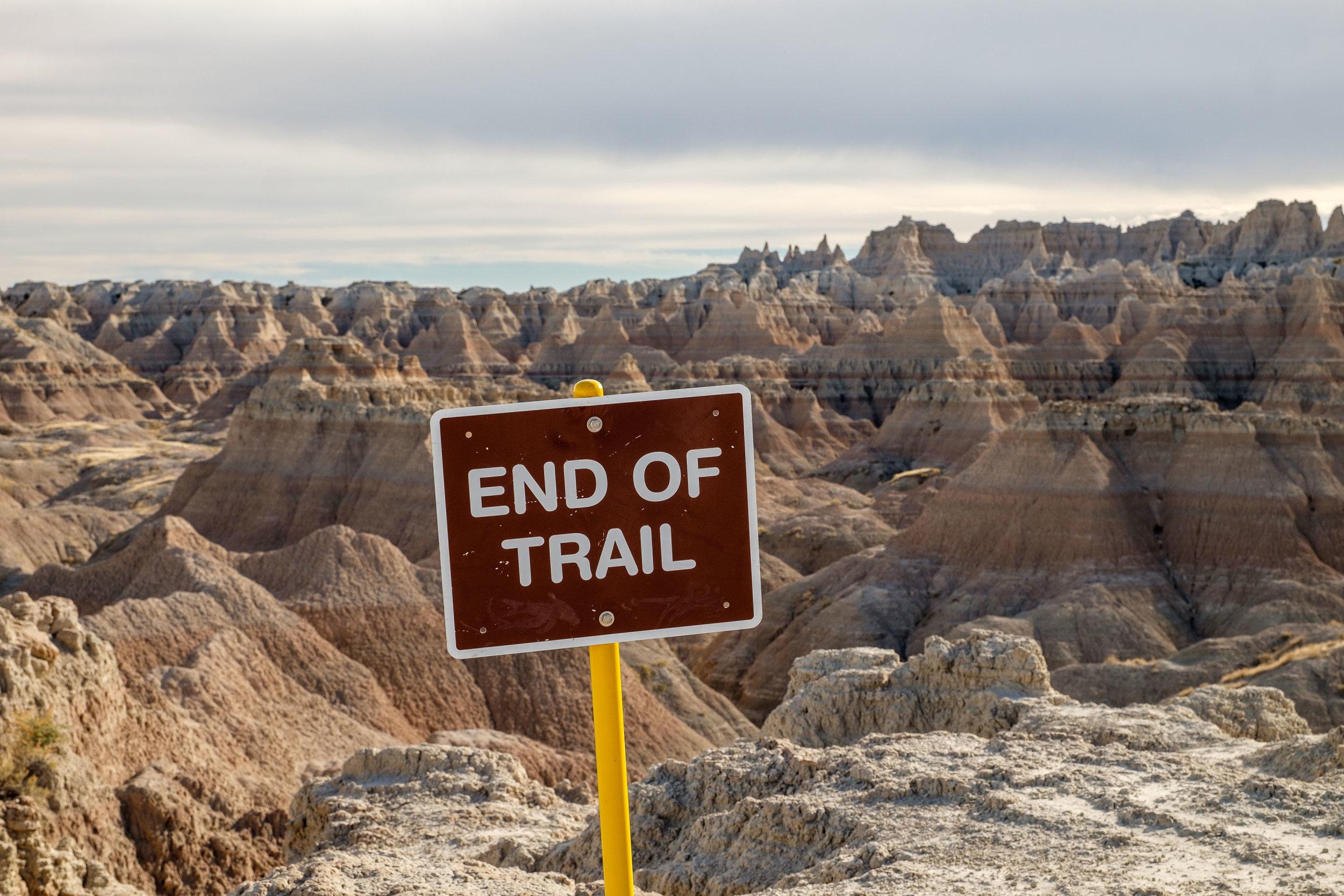 End of trail in Badlands National Park in South Dakota.