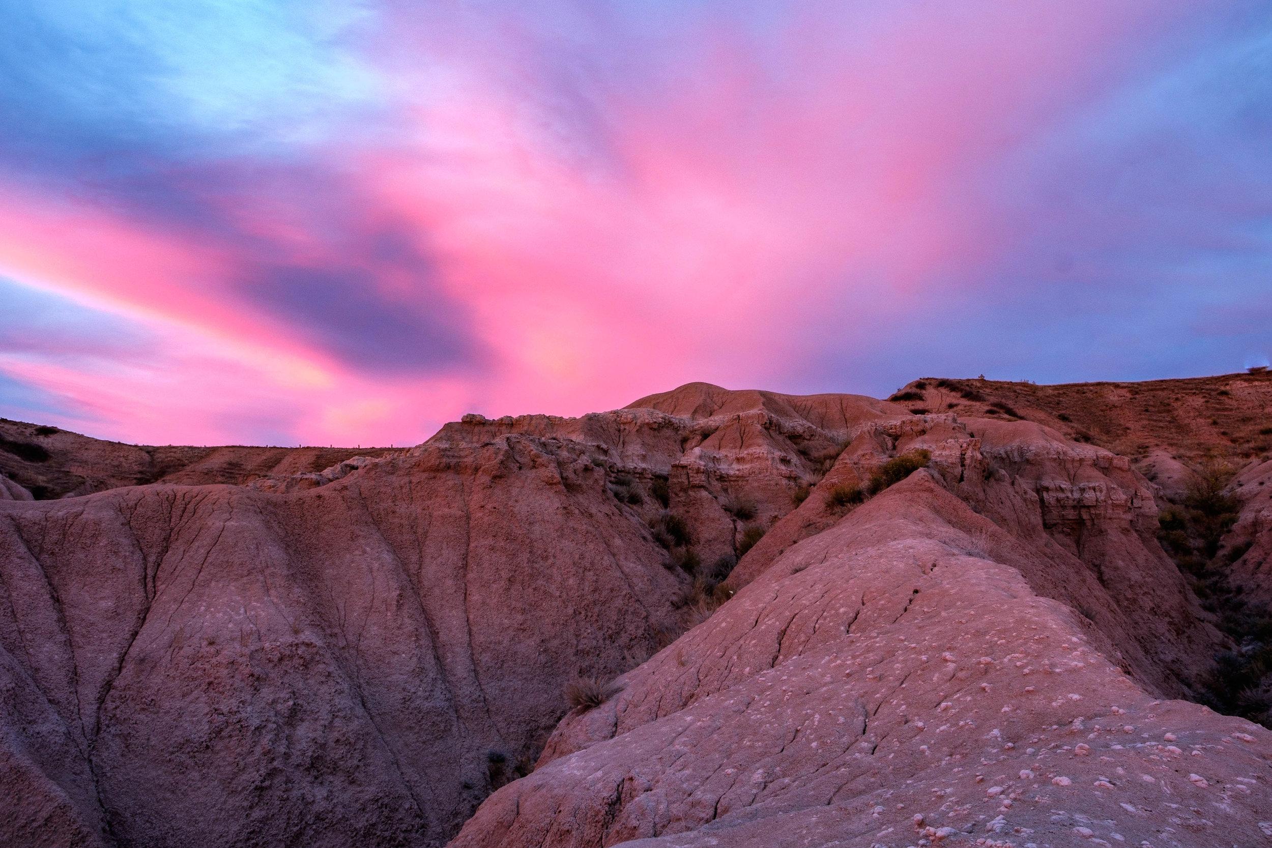 Pretty sunset sky in Badlands National Park in South Dakota.
