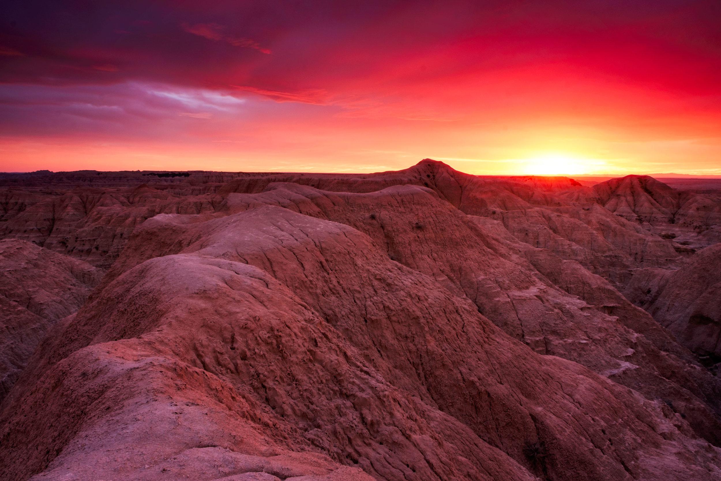 Sunset in Badlands National Park in South Dakota.