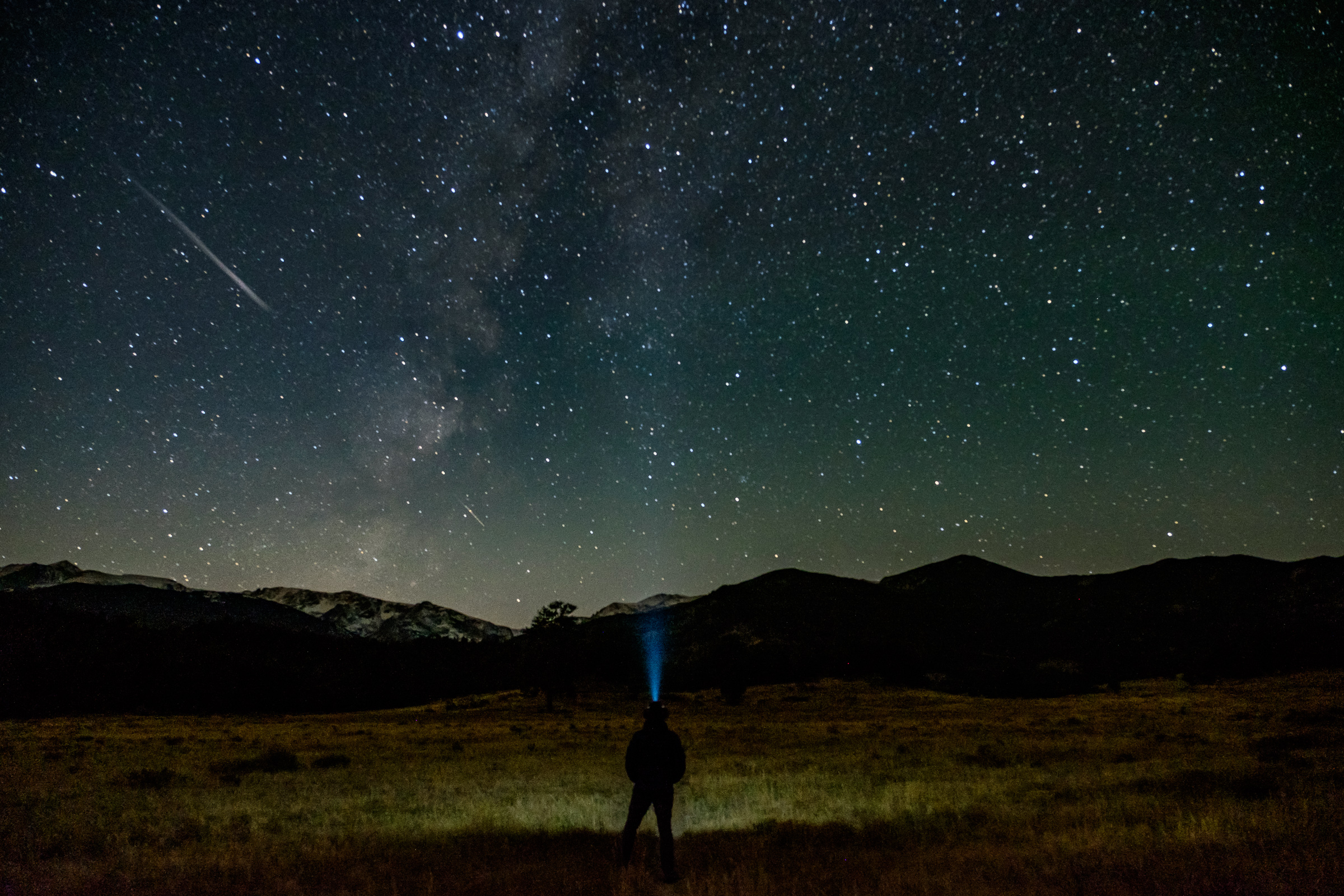 Star, starry night in Touching the sun in Rocky Mountain National Park in Colorado.