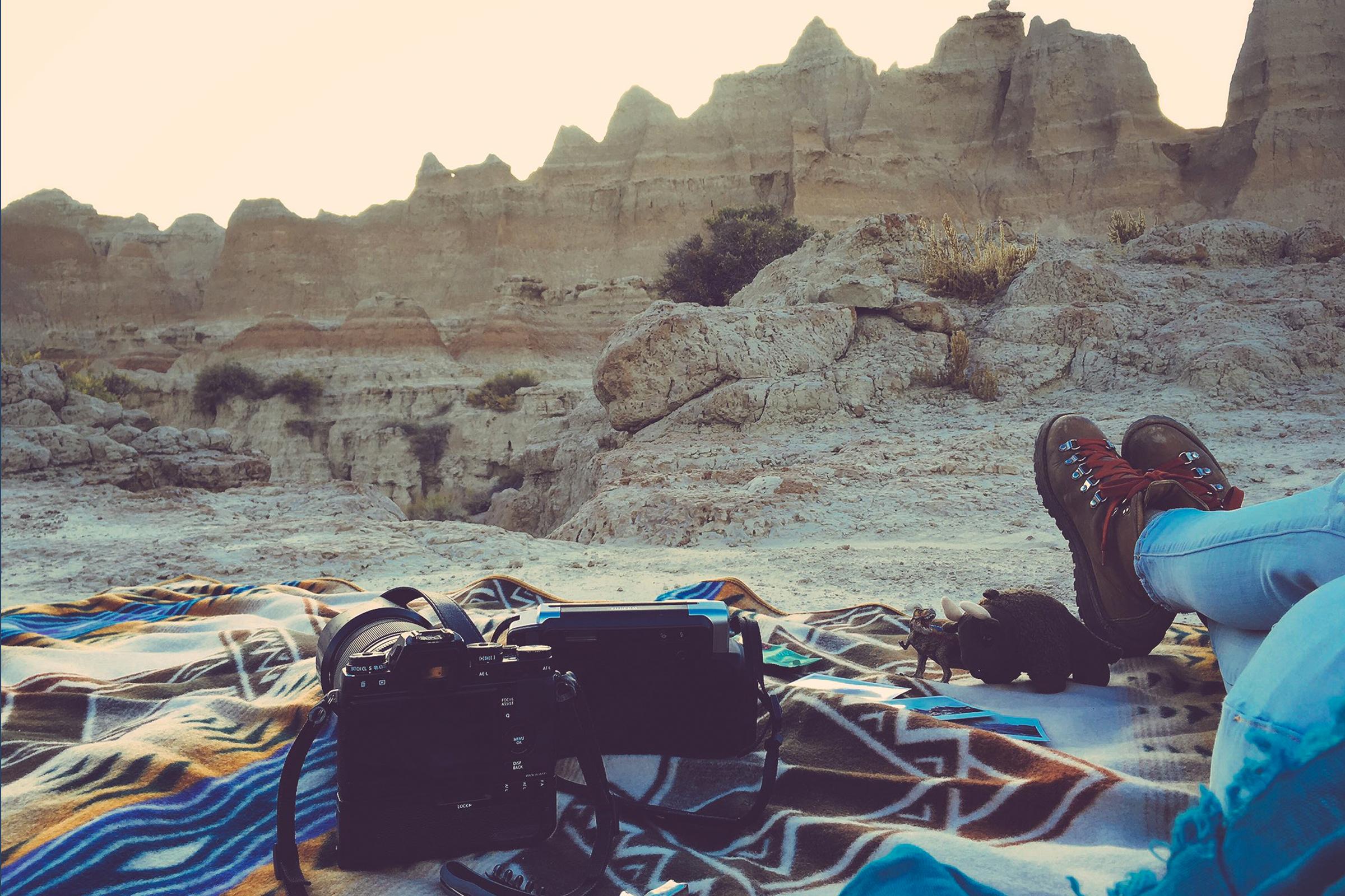 Kickin' back in Badlands National Park in South Dakota.