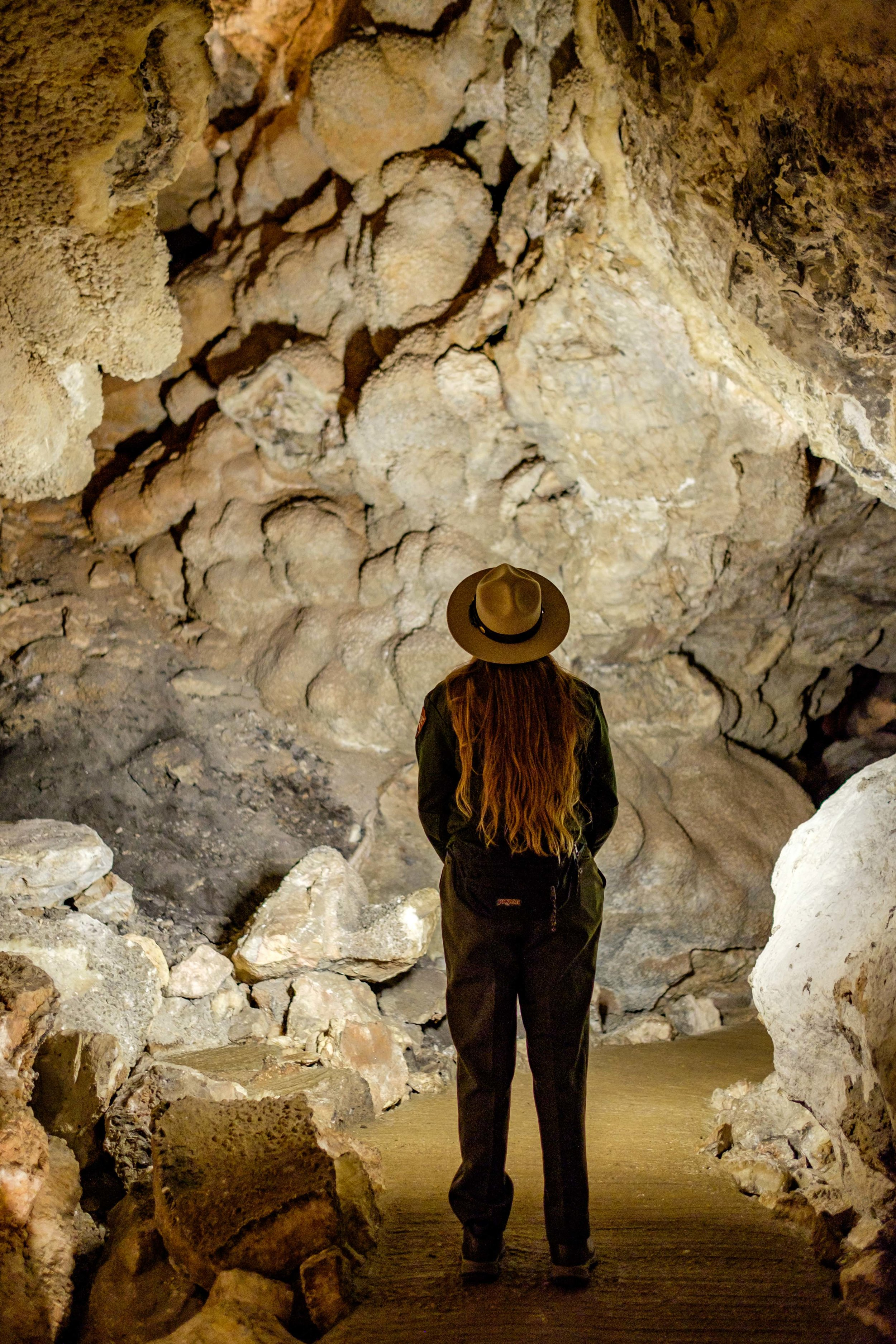 One of America's most awesome and inspired rangers, Ranger Riley, leading us into Jewel Cave in South Dakota.  She is on a quest of her own to visit all 417 National Park sites .