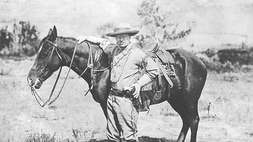 Theodore Roosevelt pictured in 1884 in the Badlands of Dakota Territory, which is now the state of North Dakota.