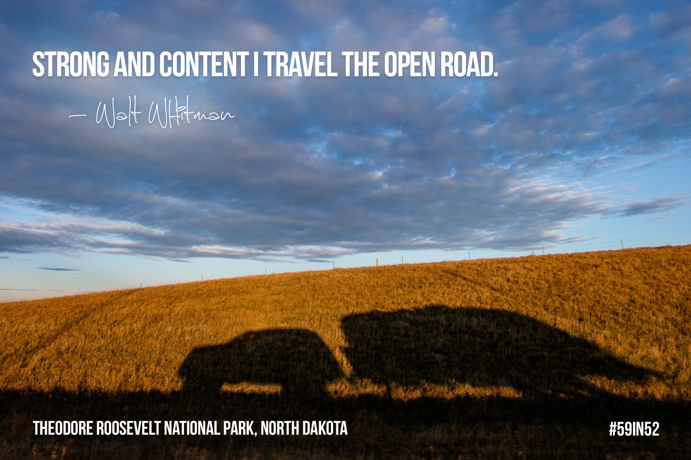 """""""Strong and content I travel the open road."""" - Walt Whitman"""