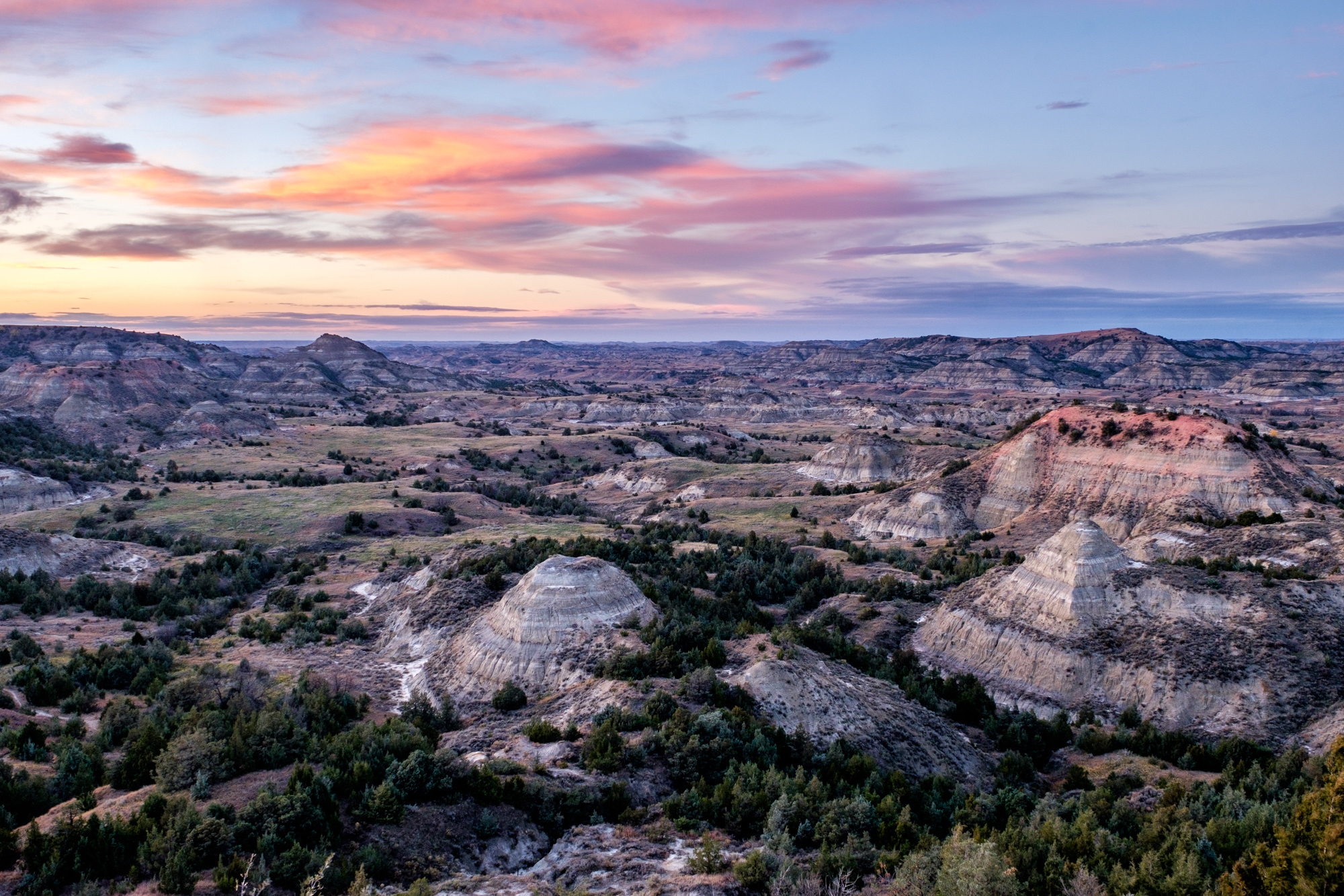 Colorful badland formations and forest at Painted Canyon in the south unit.