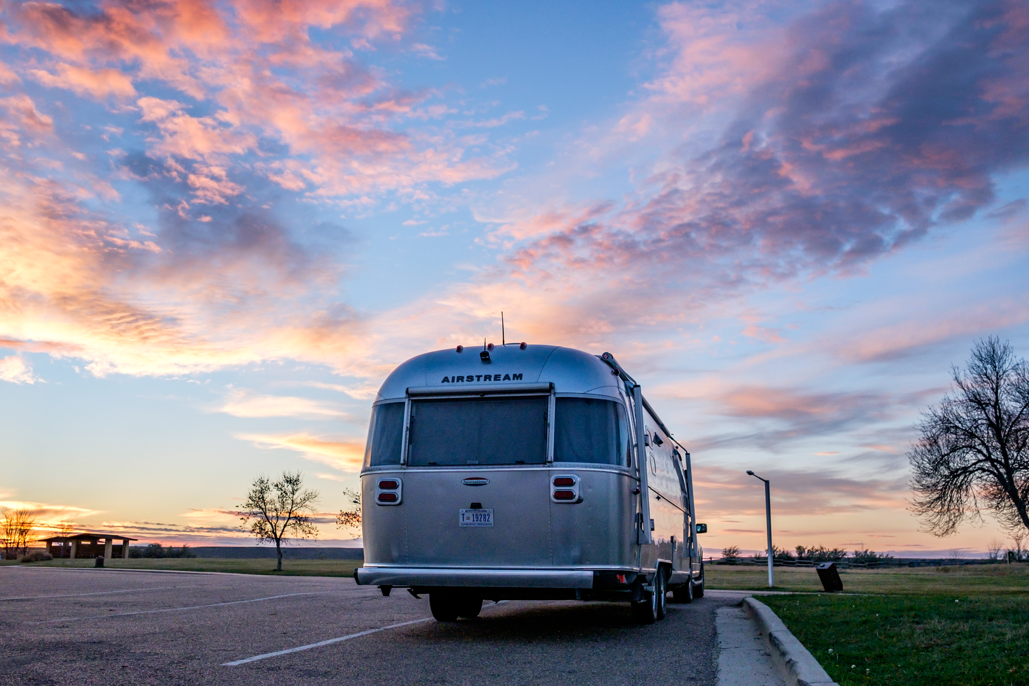 Wally the  Airstream  taking in the sunset in the south unit.