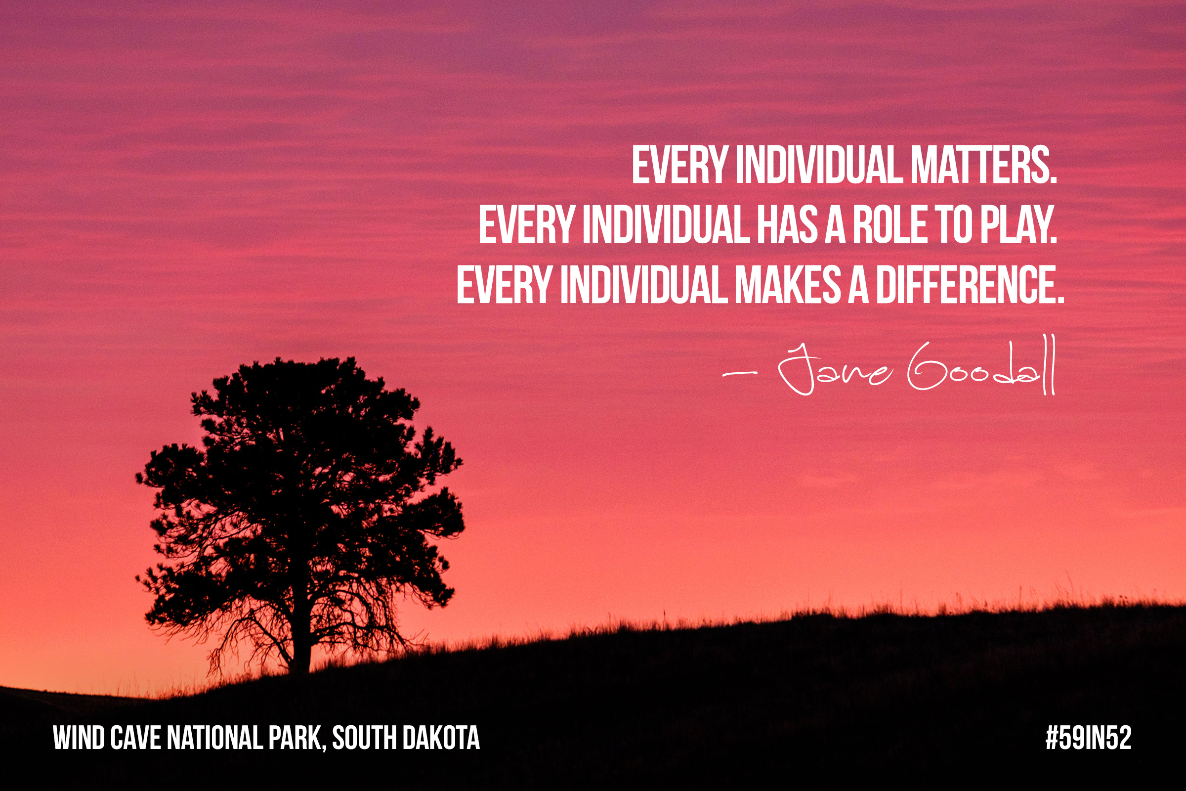 """Every individual matters. Every individual has a role to play. Every individual makes a difference."" - Dr. Jane Goodall"