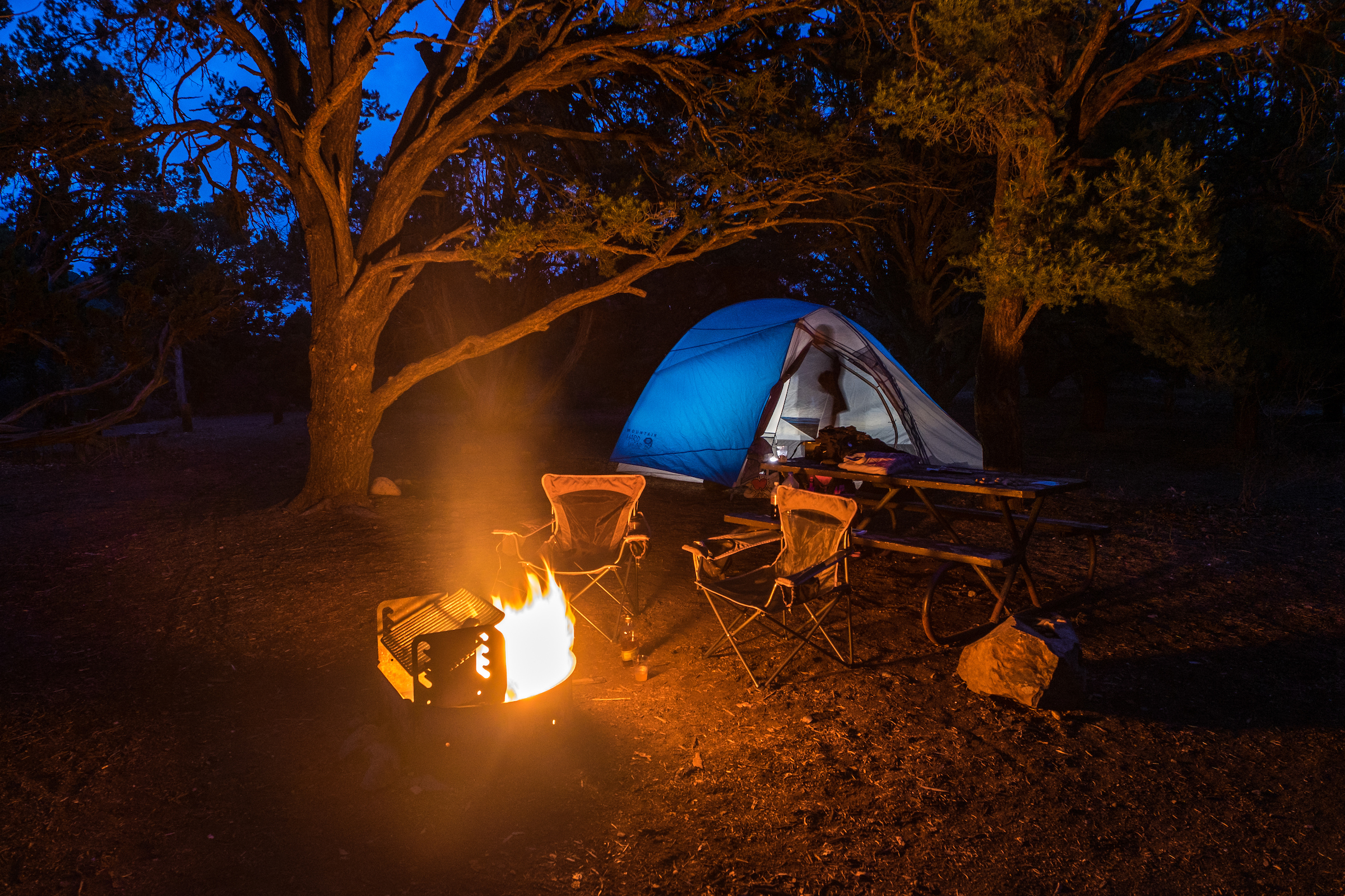 Our campsite nestled in the juniper-pinyon trees at the North Rim Campground.