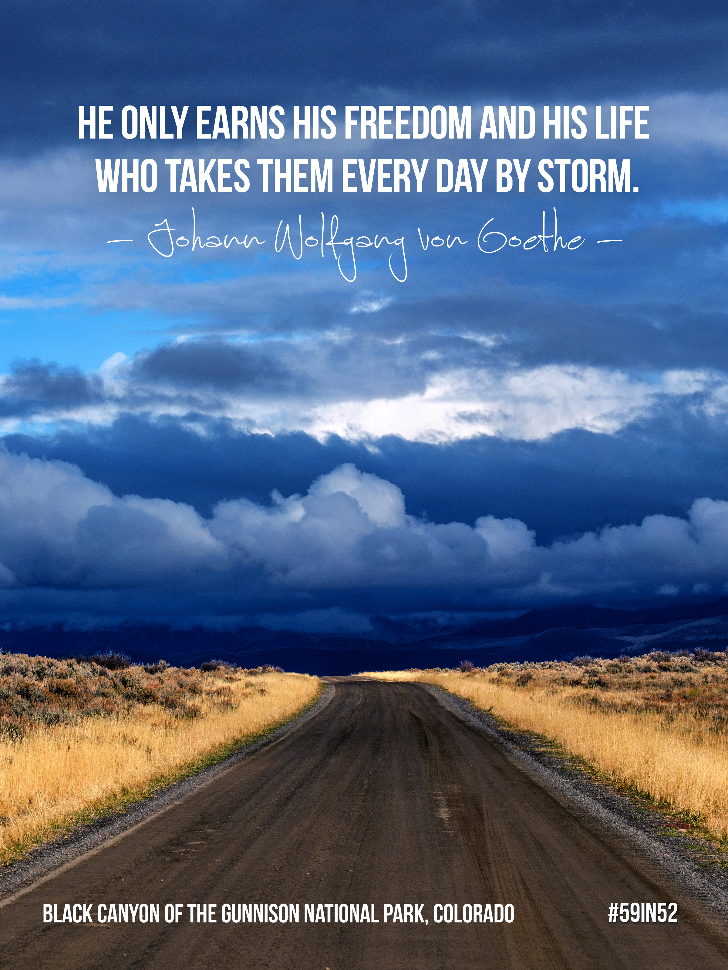 """""""He only earns his freedom and his life Who takes them every day by storm."""" -Johann Wolfgang von Goethe"""