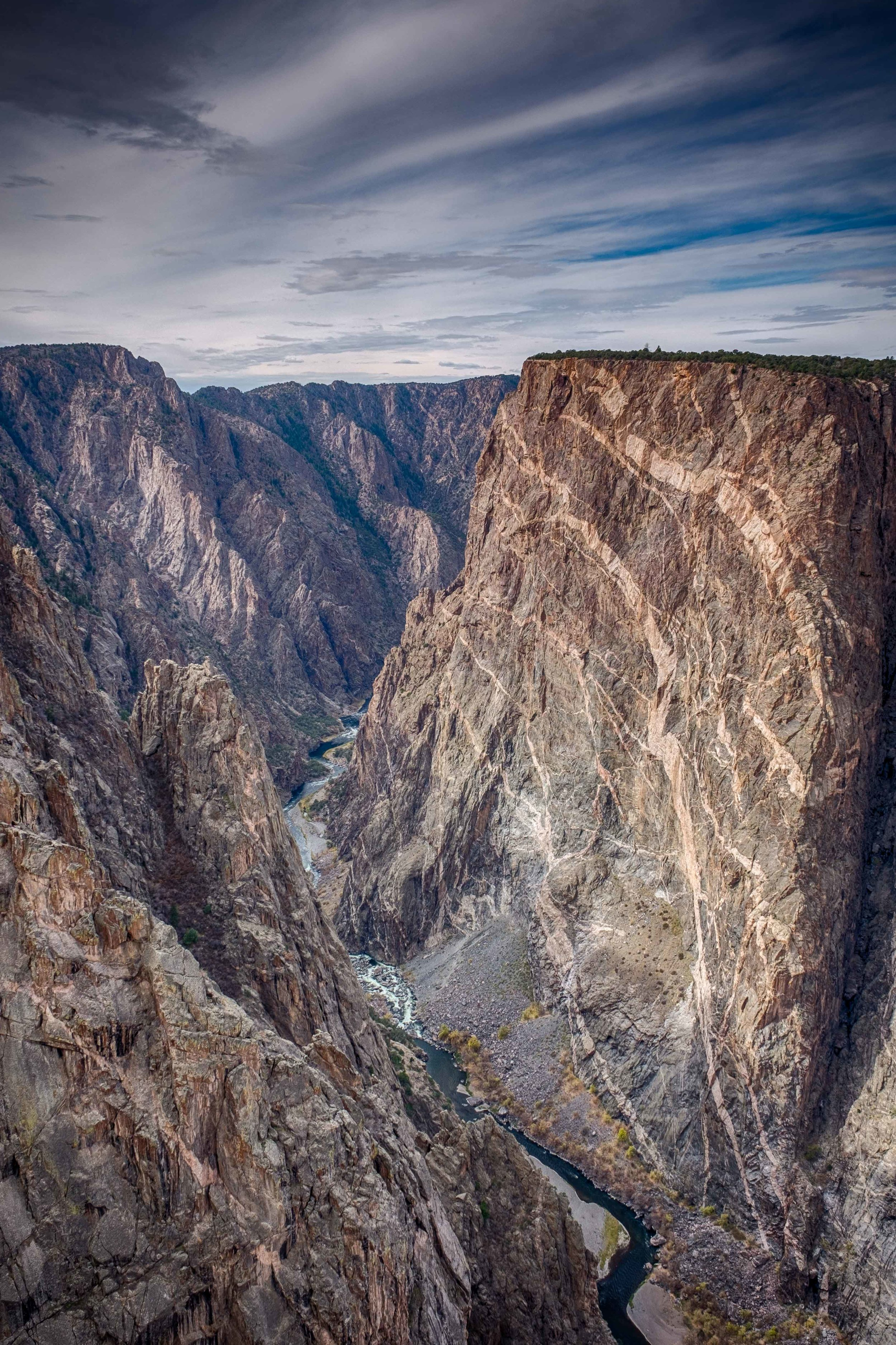 """One of the more popular sights in the park is the Painted Wall, named for the """"painted""""  stripes acrosd the canyon."""