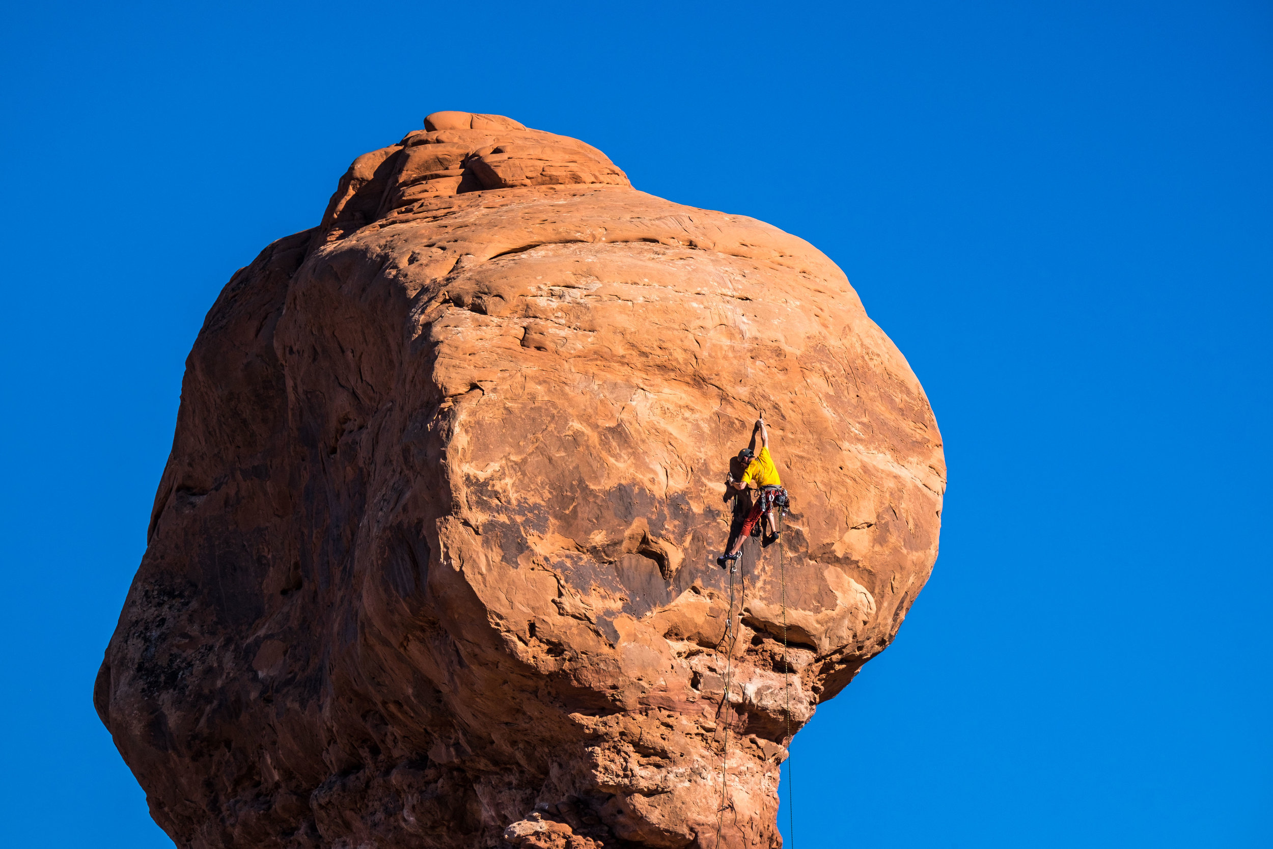 Rock climbing is a favorite sport at Arches National Park.