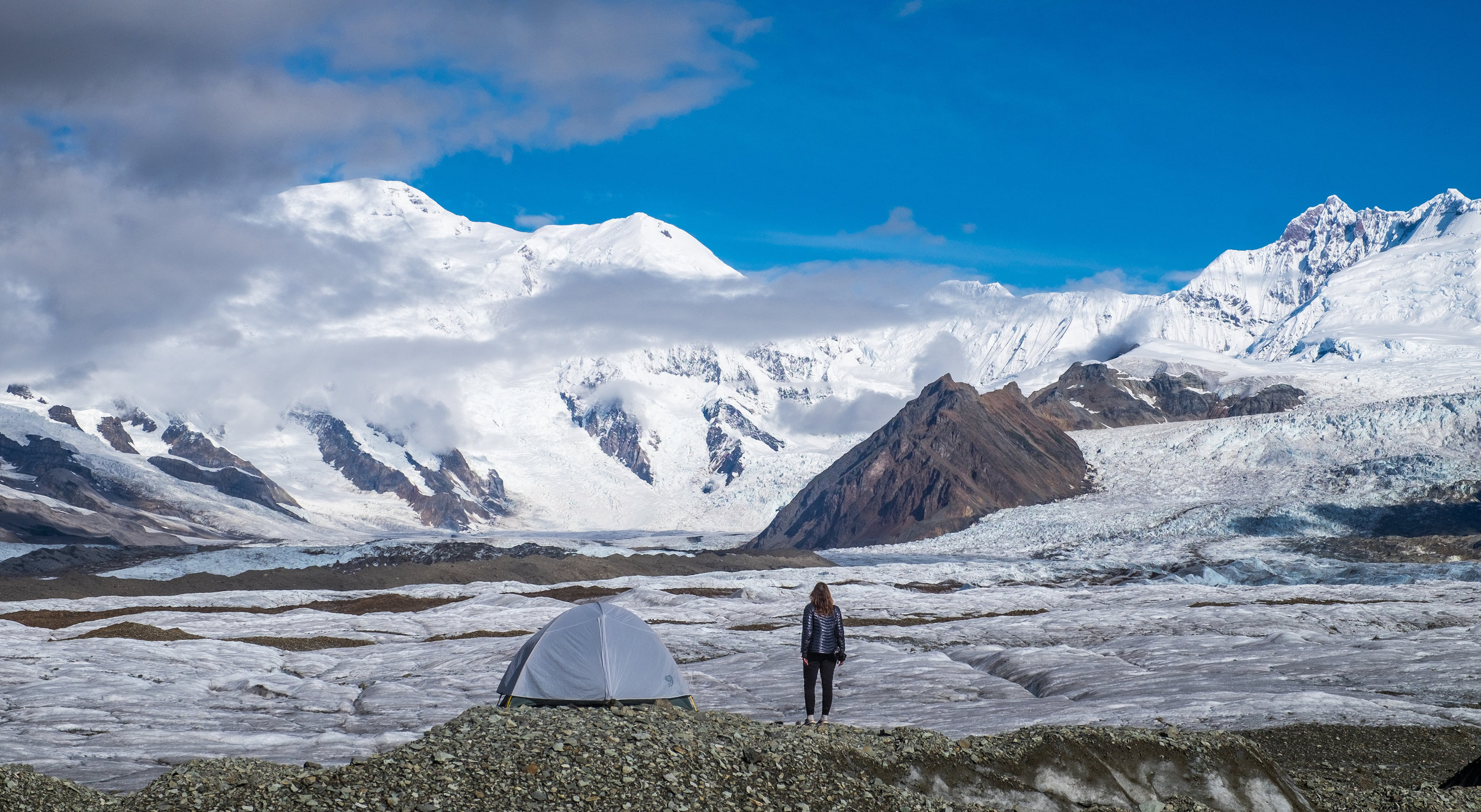 All set up to camp on the Kennecott Glacier in Wrangell St. Elias National Park & Preserve. Credit: JONATHAN IRISH