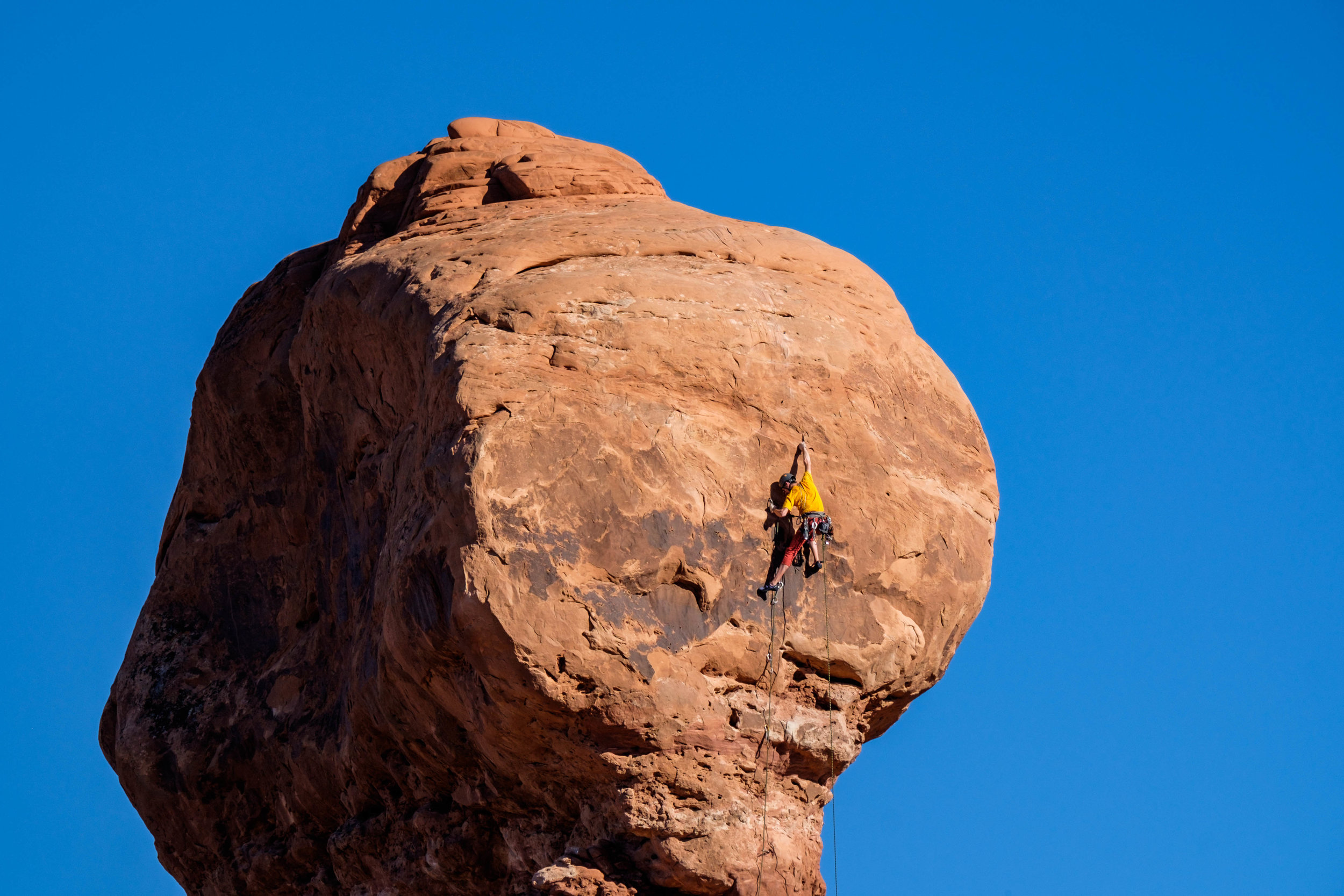 Rock climbers come from all over the world to climb the Entrada sandstone in this park.