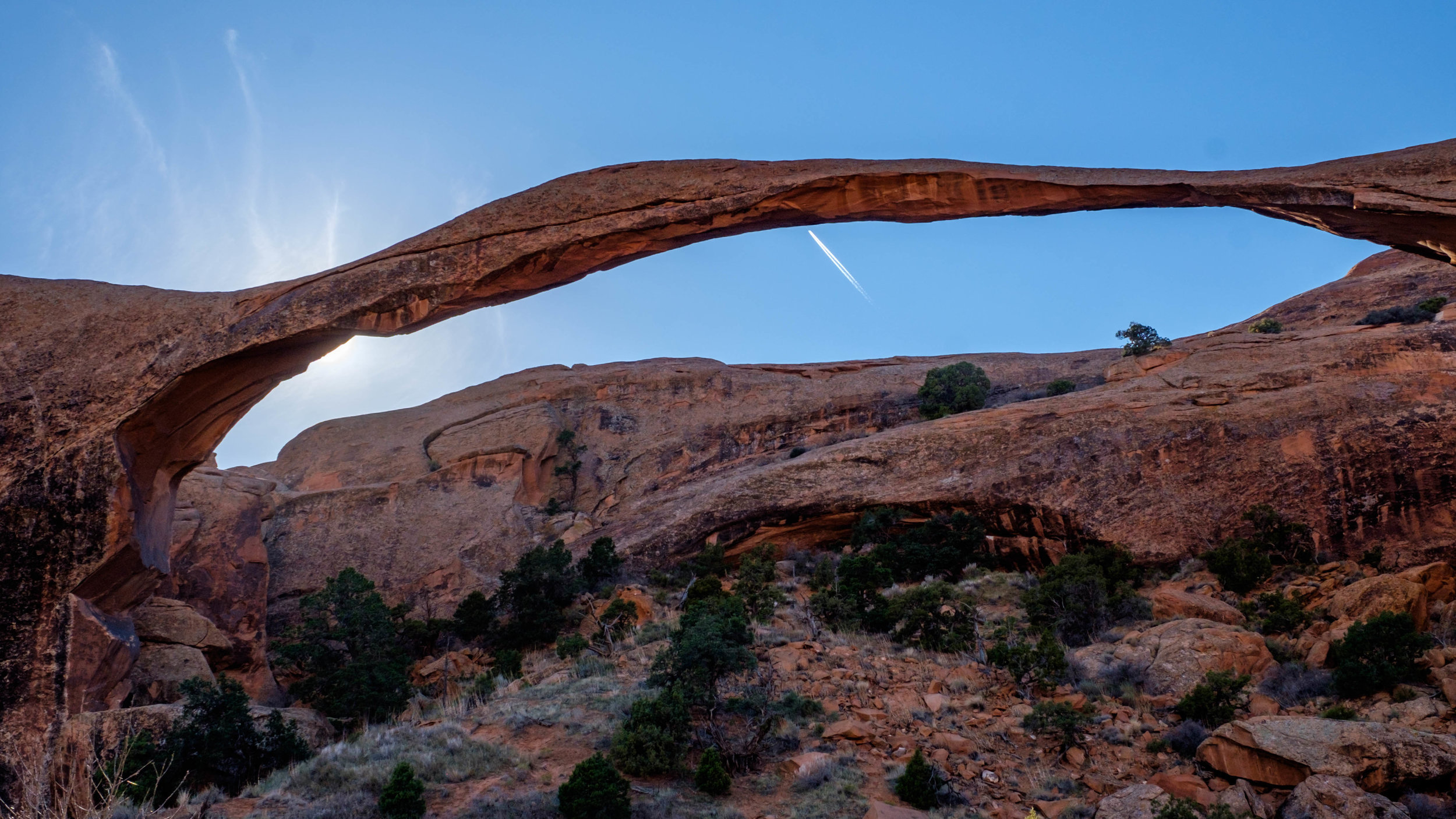 Landscape Arch is one of the first arches you come to on the Devil's Garden Trail, and is also one of the most delicate arches in the park. Who knows how much longer this fragile arch will stand.