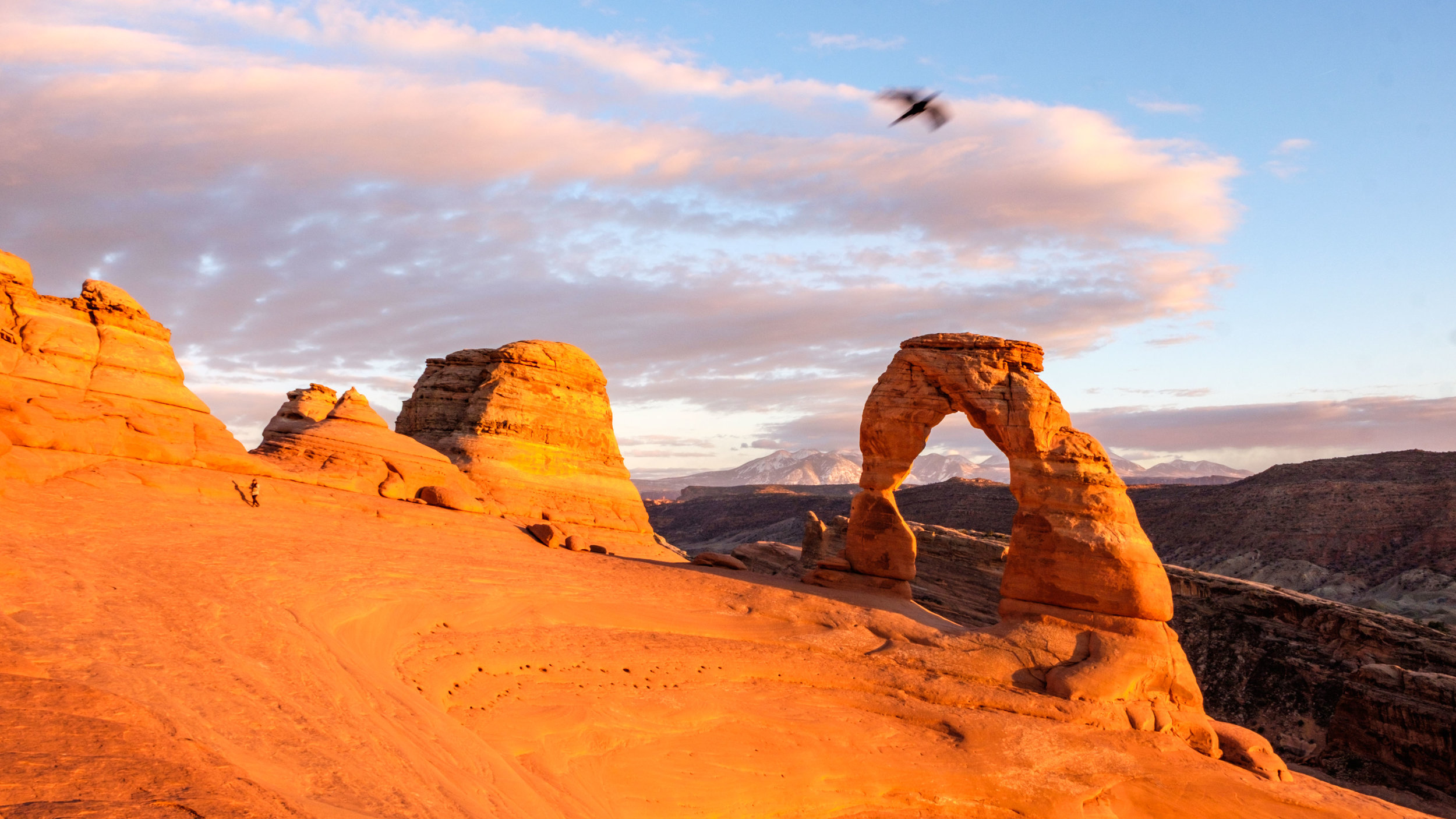 The sunset at Delicate Arch is a very happening time and place. It takes your breath away!
