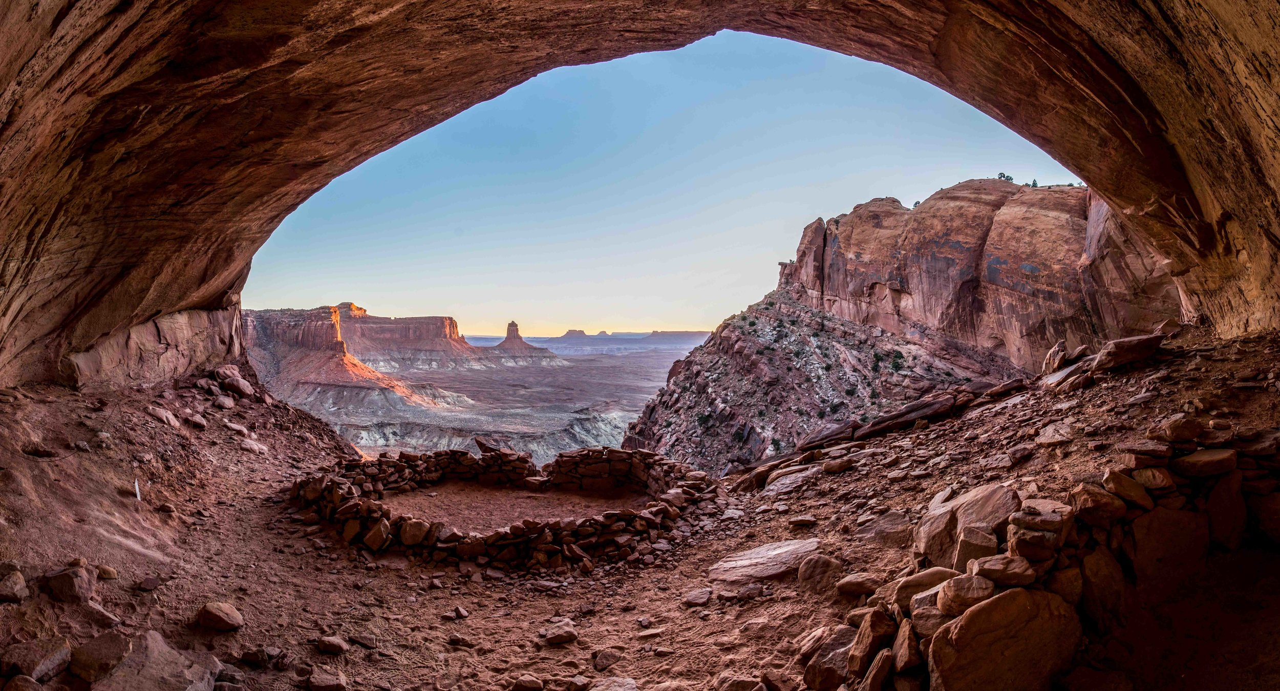 A super wide shot of False Kiva in Canyonlands NP.