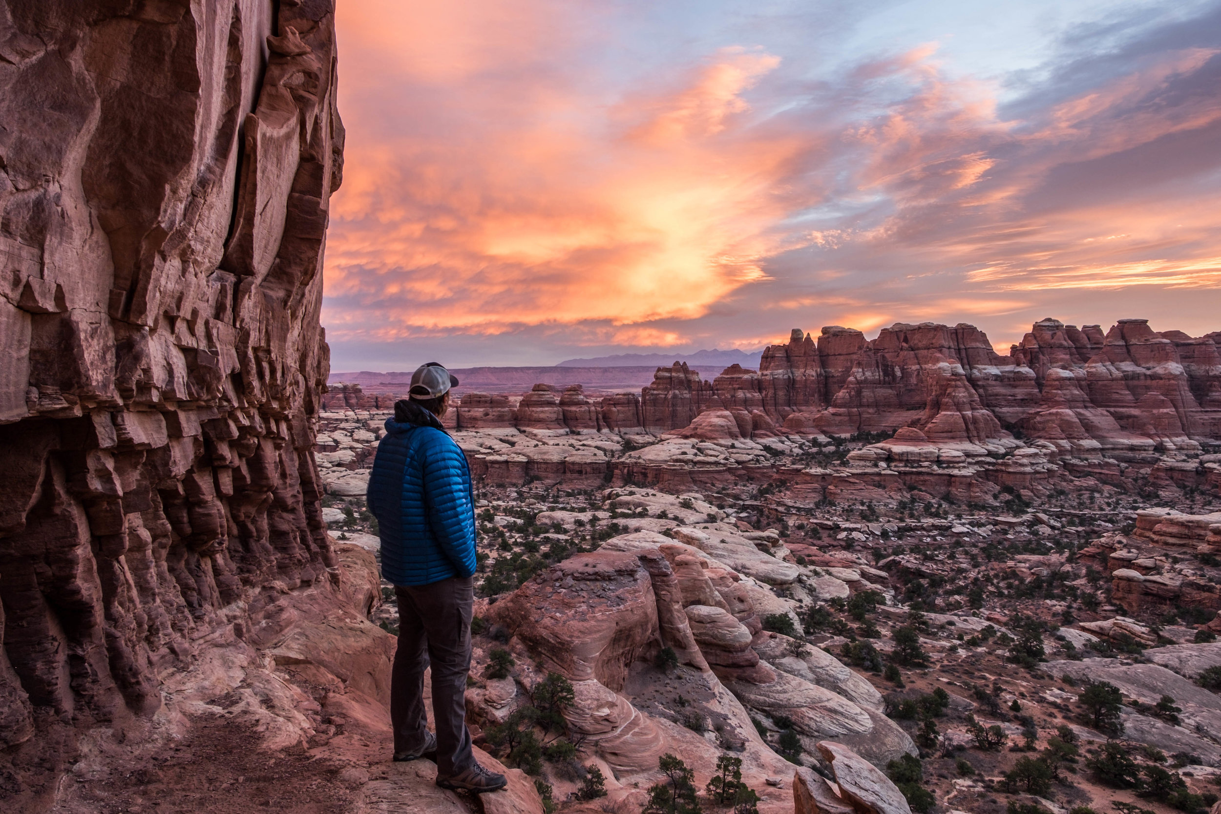Taking in impeccable views and sunset skies at our campsite in the Chesler Park area of the Needles District.