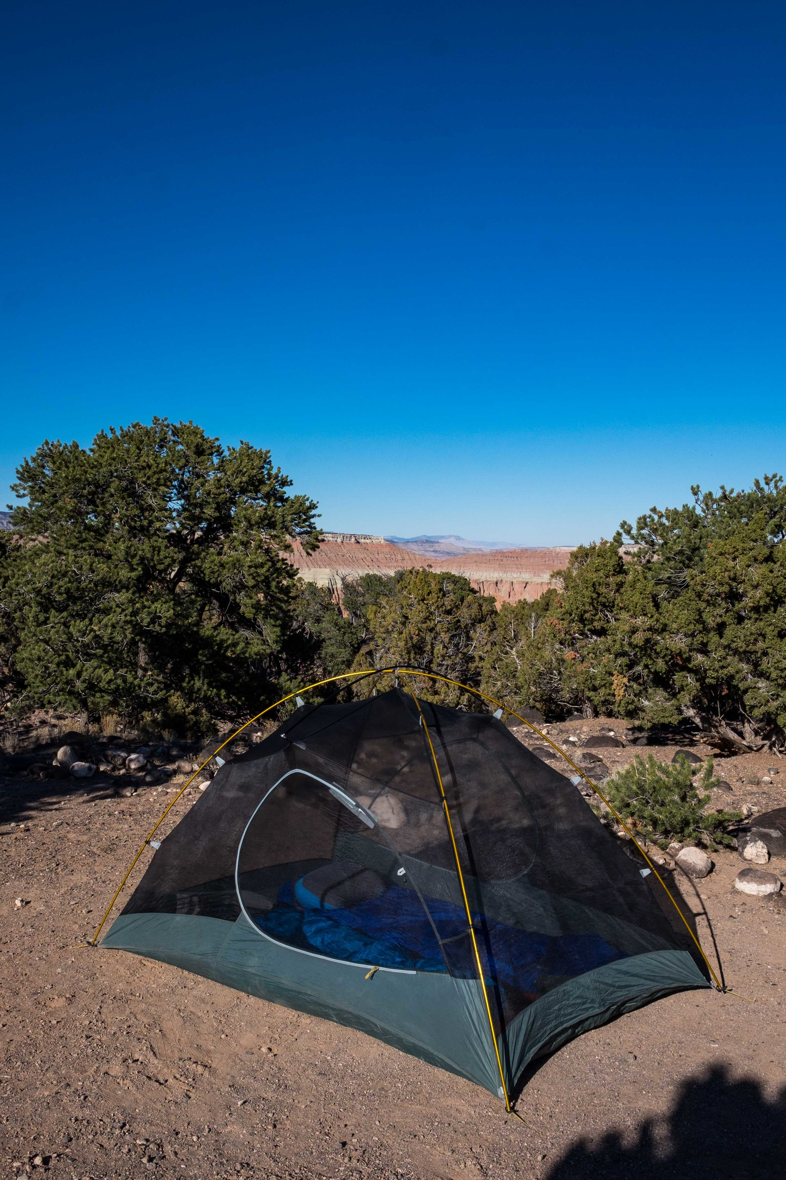 We camped at the primitive Cathedral Valley Campground -- only one other group there, far off, we felt like we had the place to ourselves.