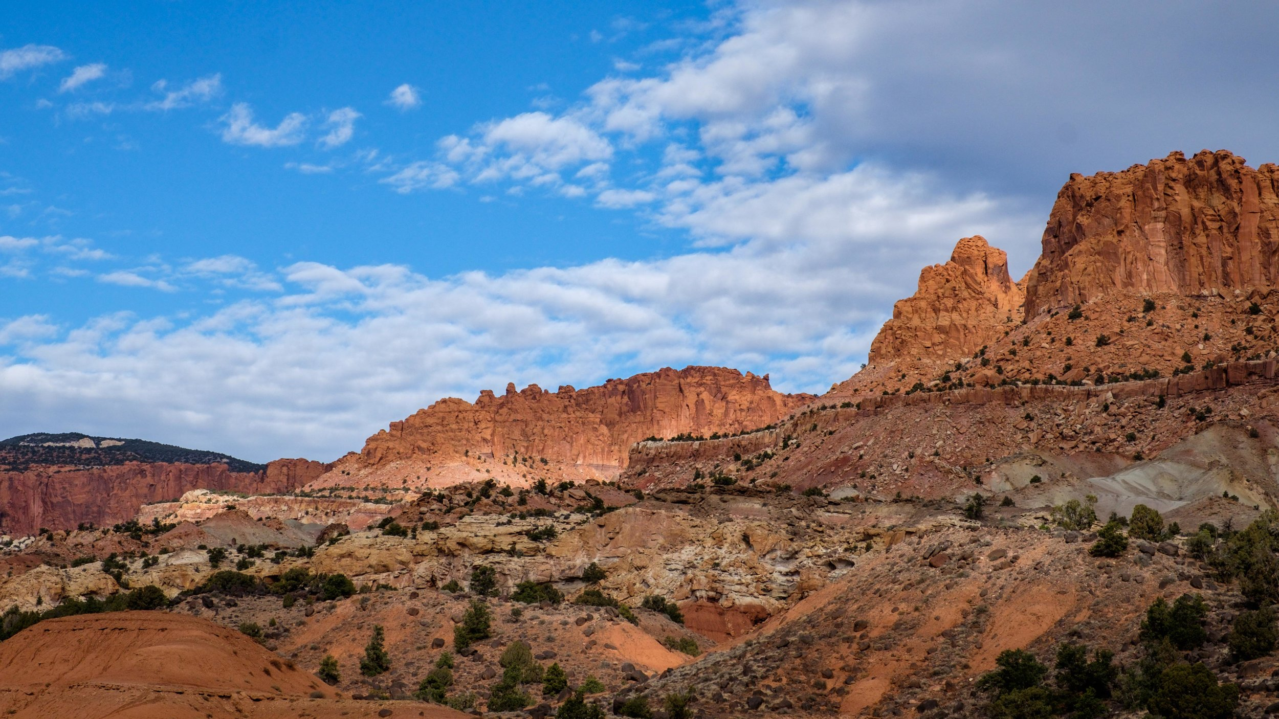 The scenic drive up to Capitol Gorge offers dramatic views.