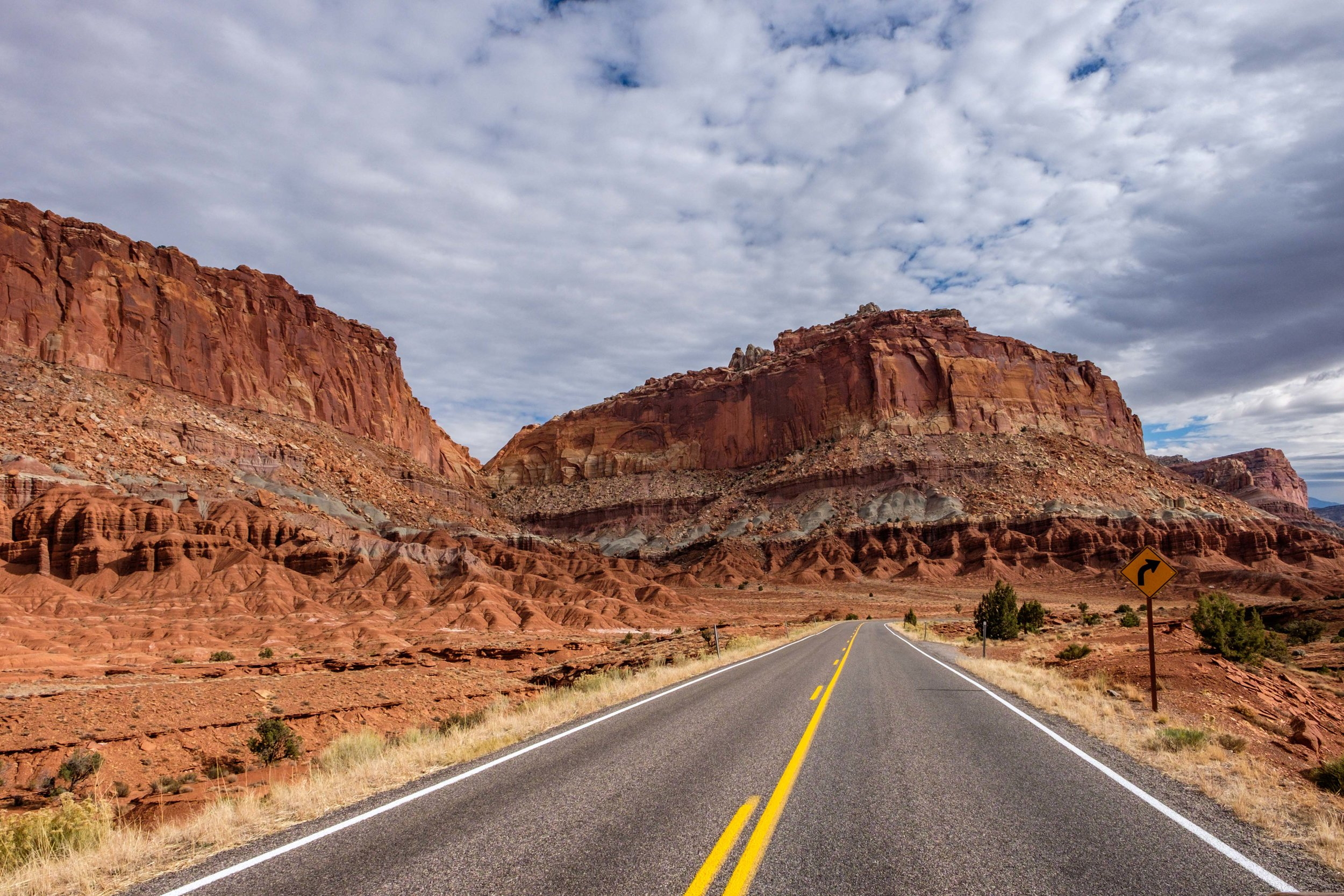 Driving towards a formation known as 'the Castle,'located near the visitor center.
