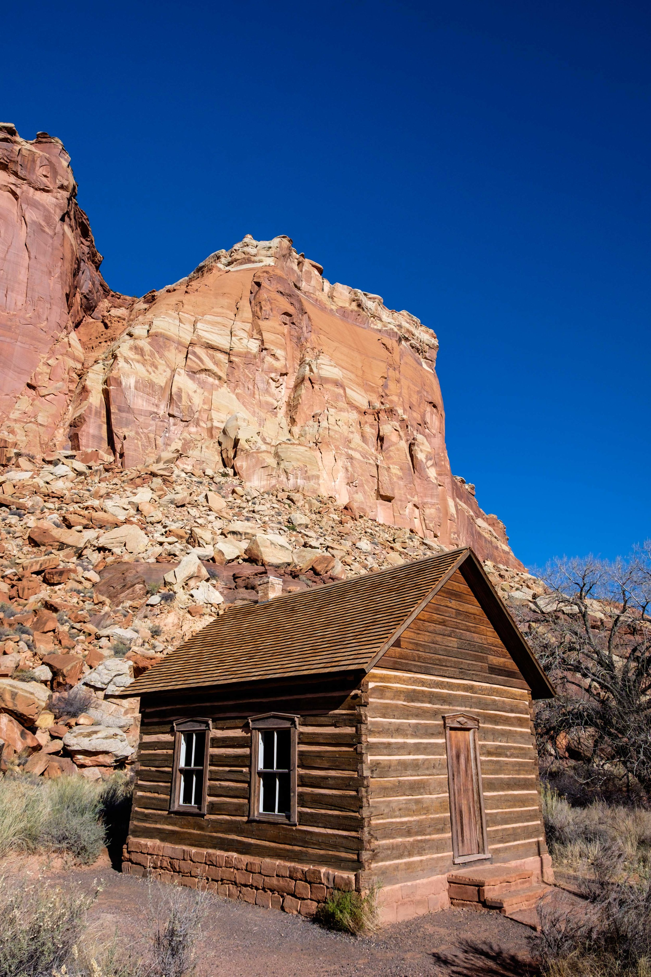 The historic Torrey Log School & Church in the Fruita district of Capitol Reef.