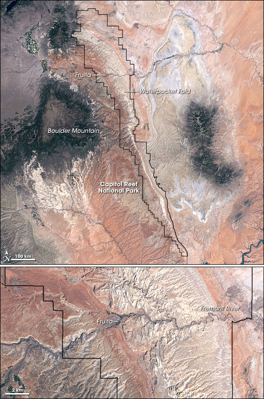 Waterpocket Fold as seen from space! Credit: NASA Earth Observatory . (Click to enlarge.)