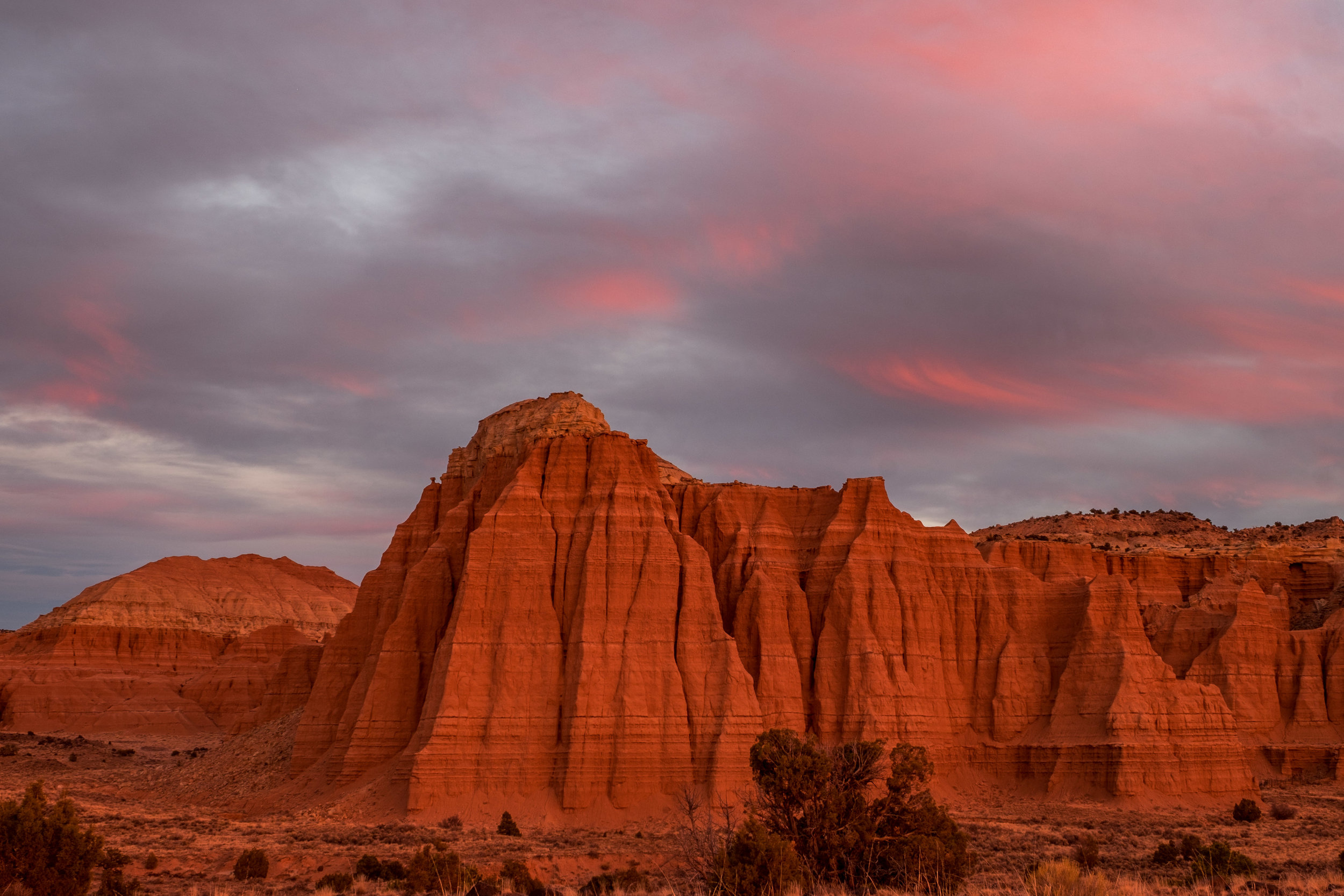 Red rock in the crepescule of a richly colored November night.