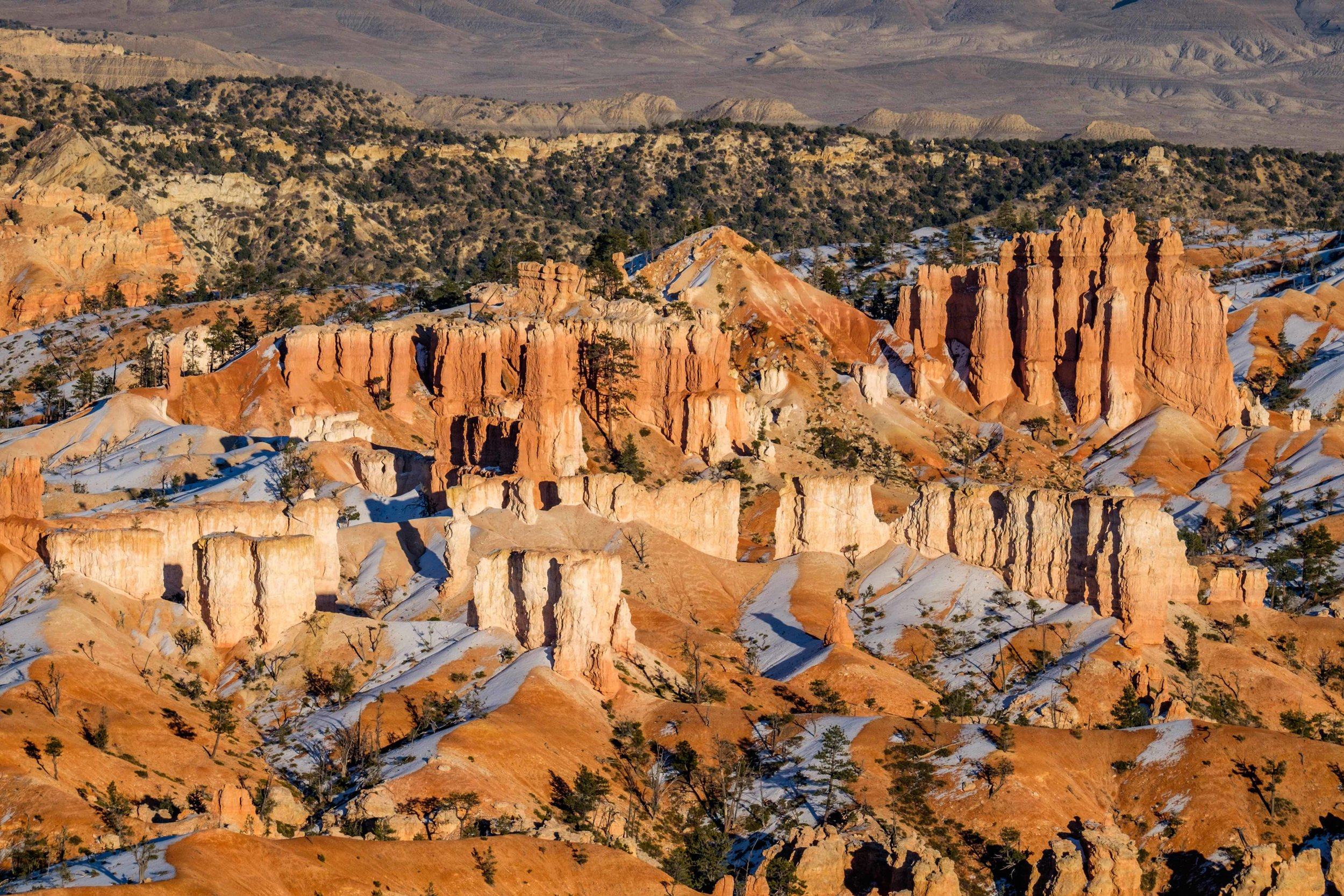 A classic scene of the Bryce Amphitheater viewed along a walk between Sunrise and Inspiration Point.