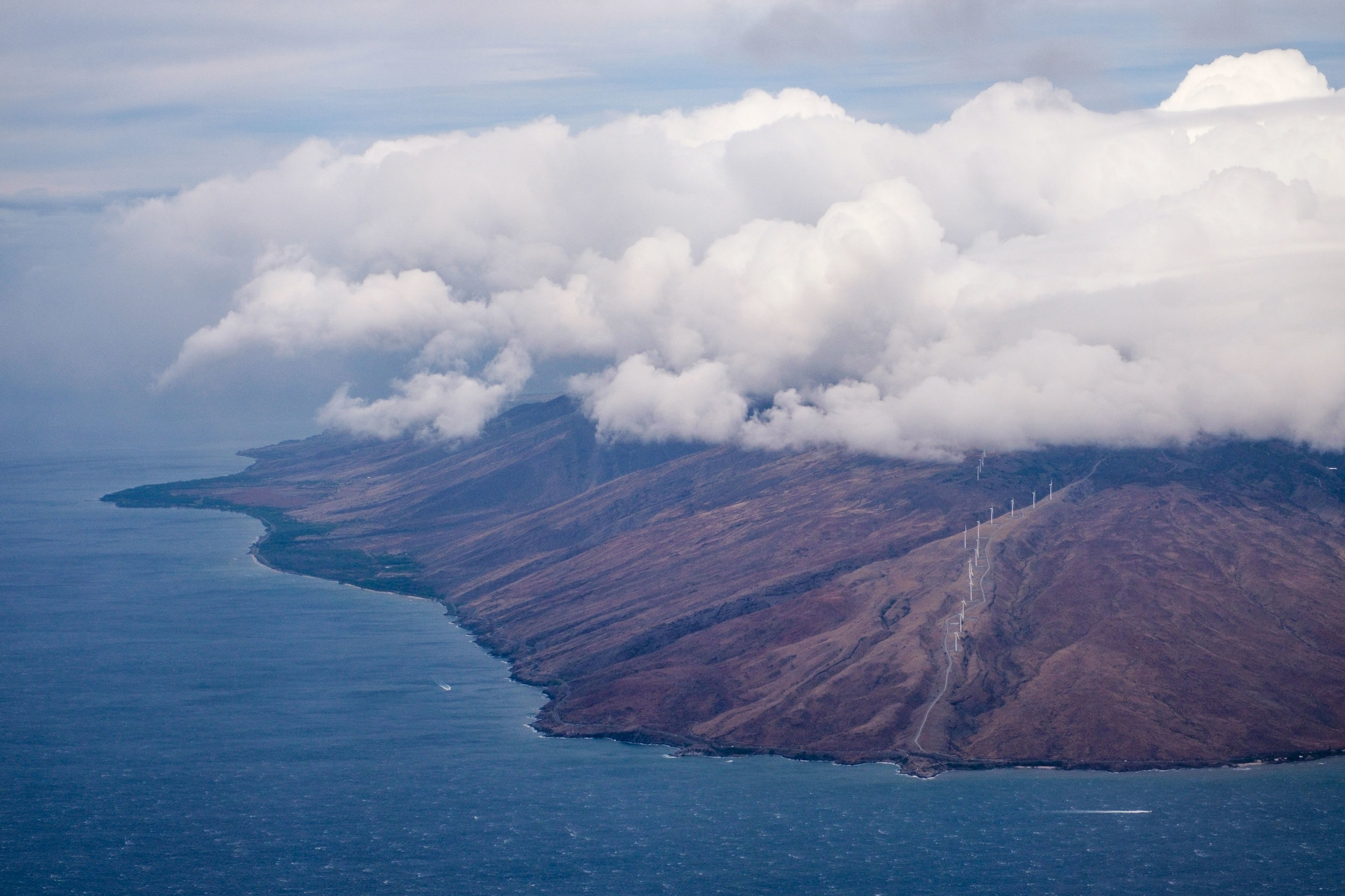 Our first glimpse of seeing the Big Island from the air. Both Stef and I love this island!