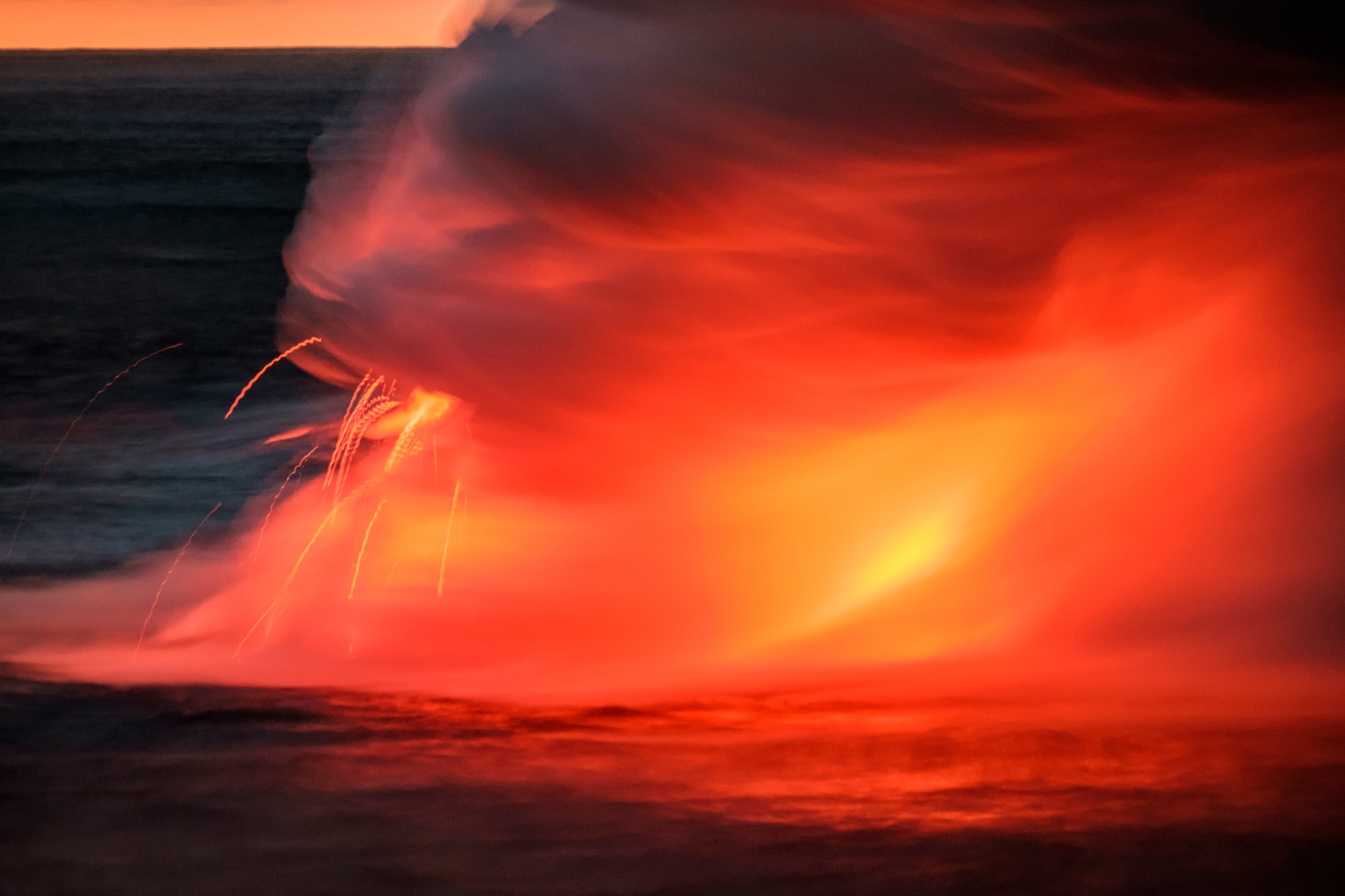 Occassionaly there would be bursts from the hot lava hitting the cold ocean water.