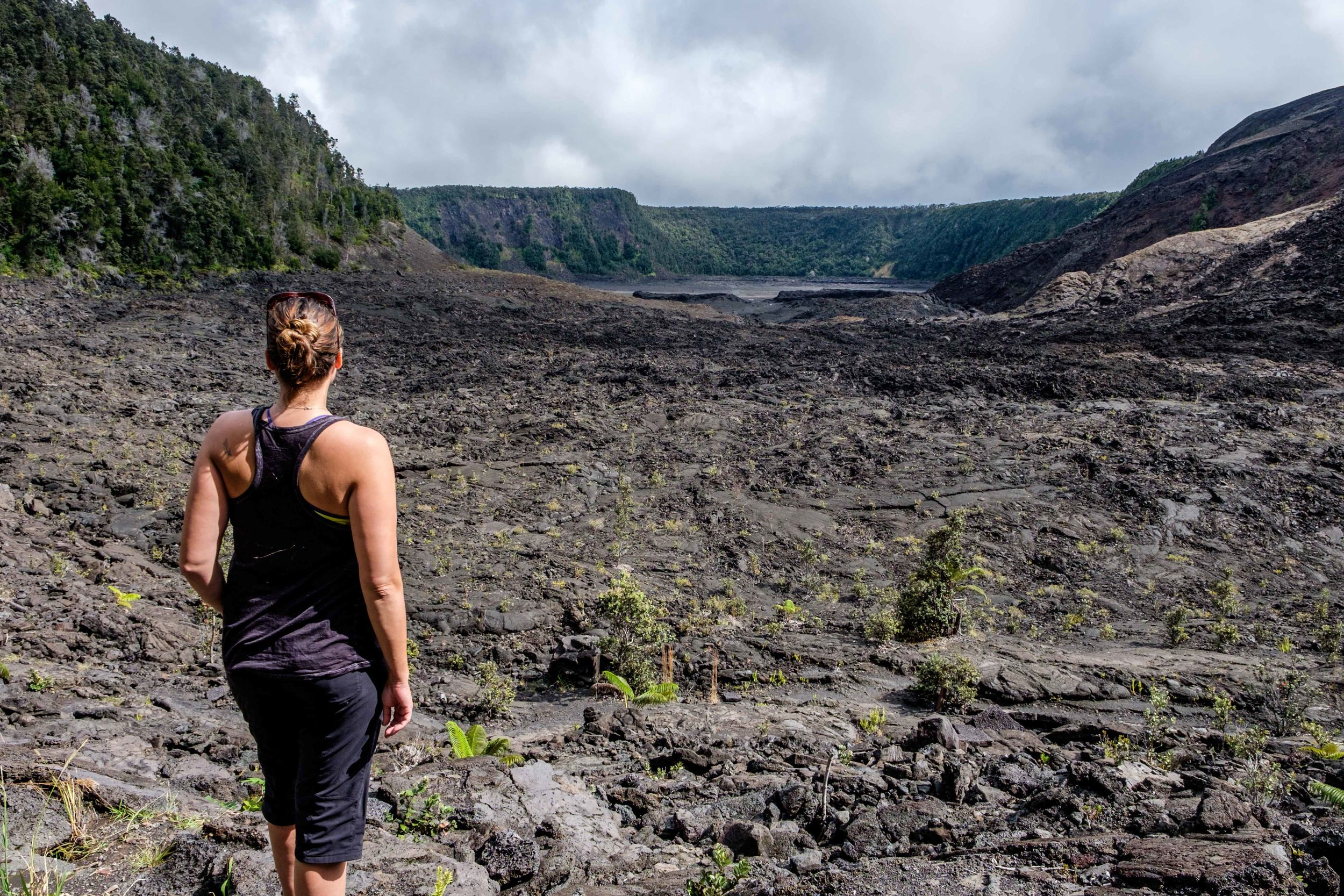 After a 400 foot descent from the crater rim, we started across the steaming crater...