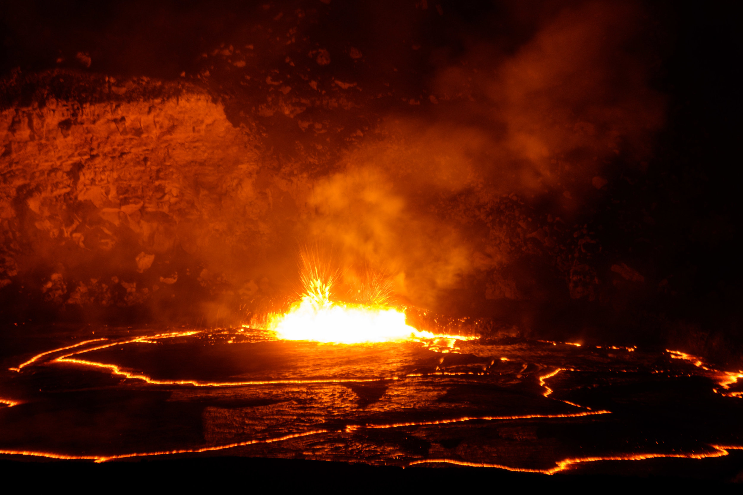 Halema'uma'u,Kīlauea's main crater   at night as seen from the observation deck at the Jaggar Museum.