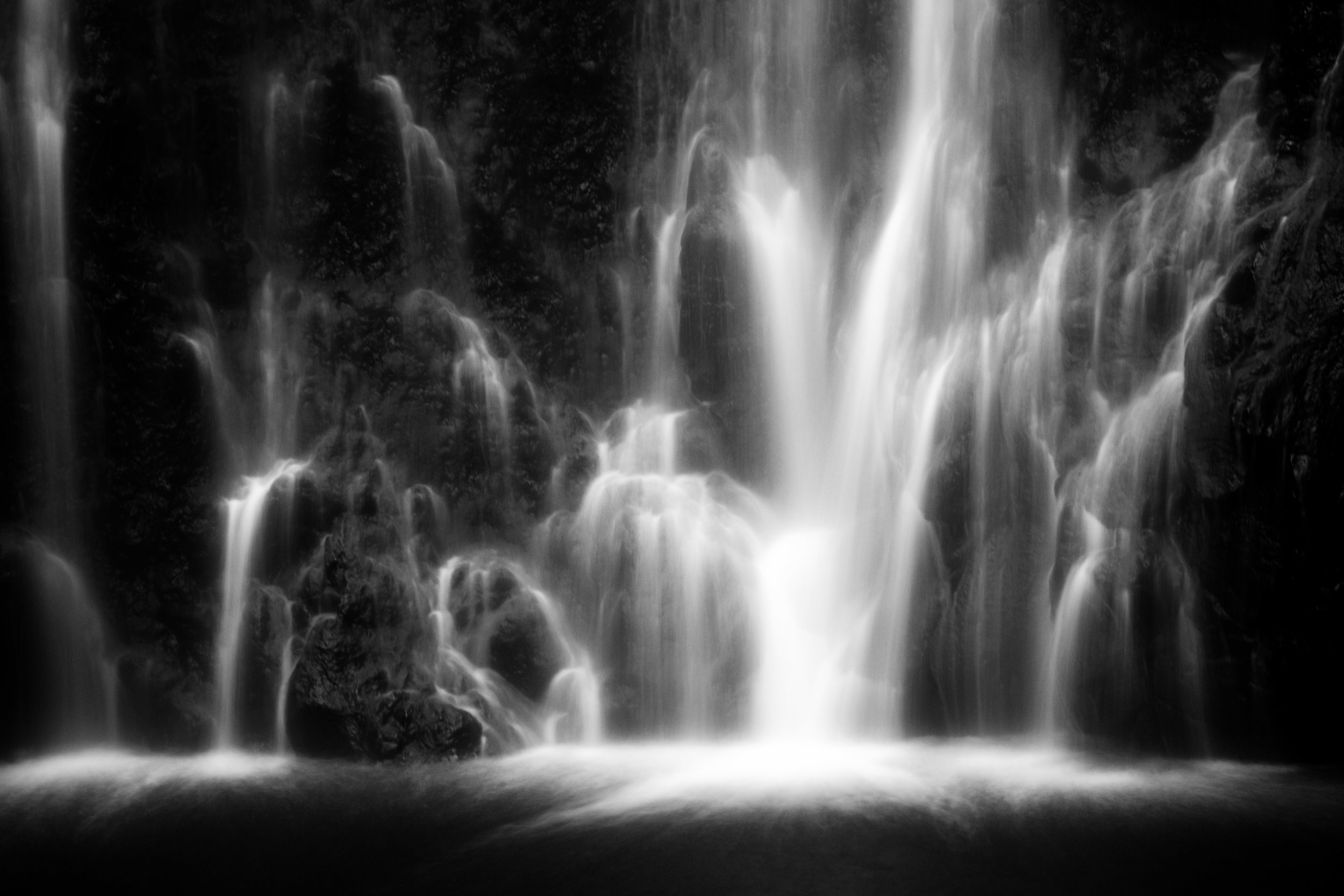 Wailua Falls in black and white.