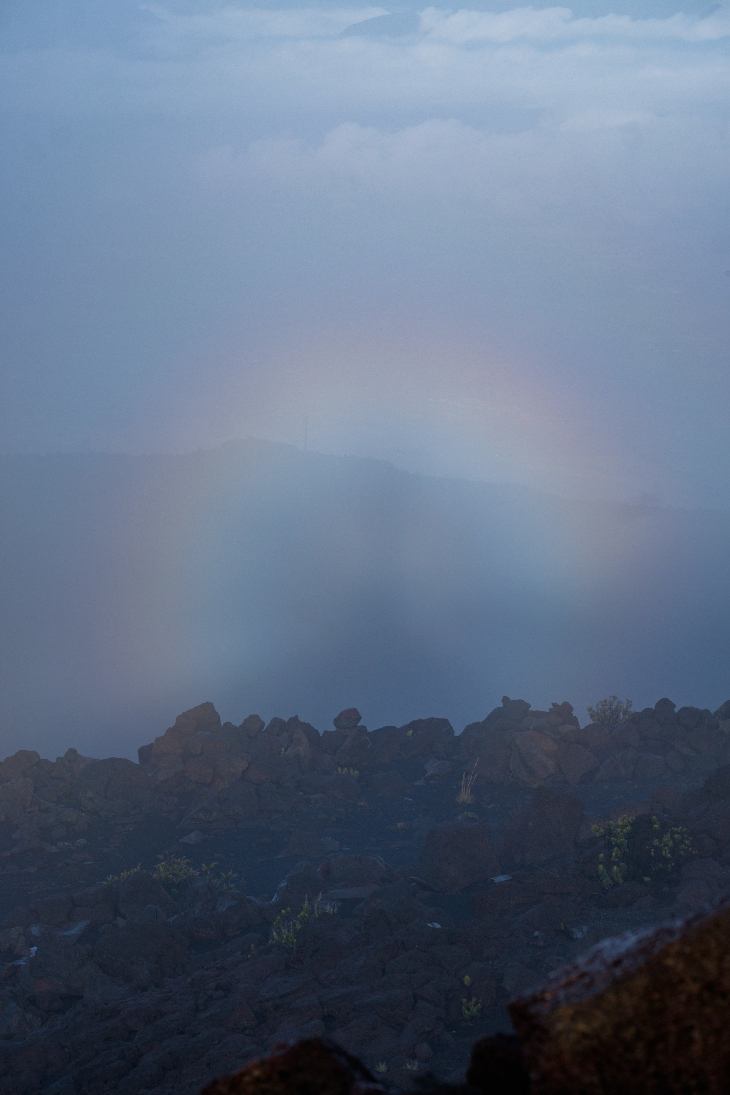 A halo forms at the summit of Haleakala.