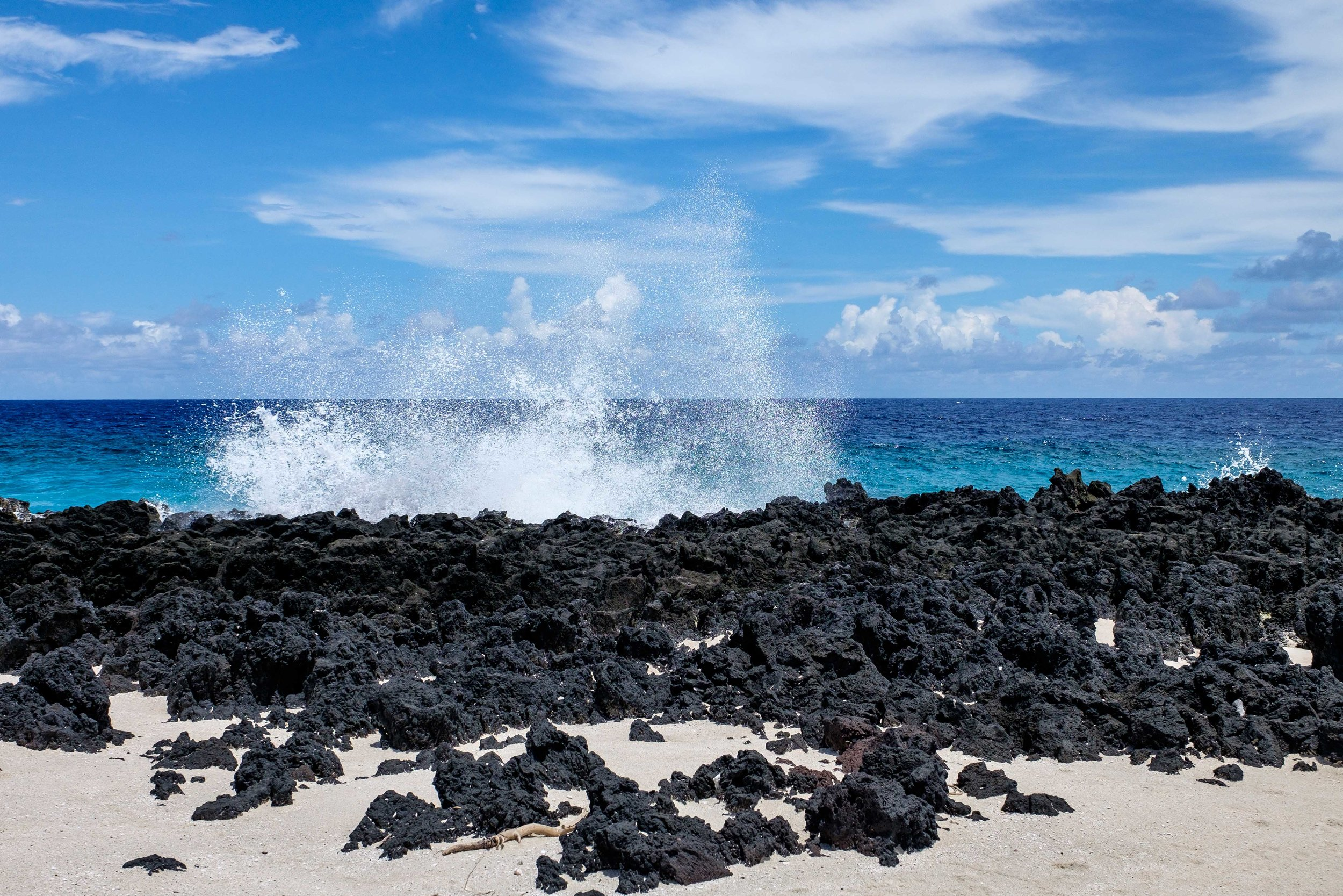 Where the lava rock meets the sea.